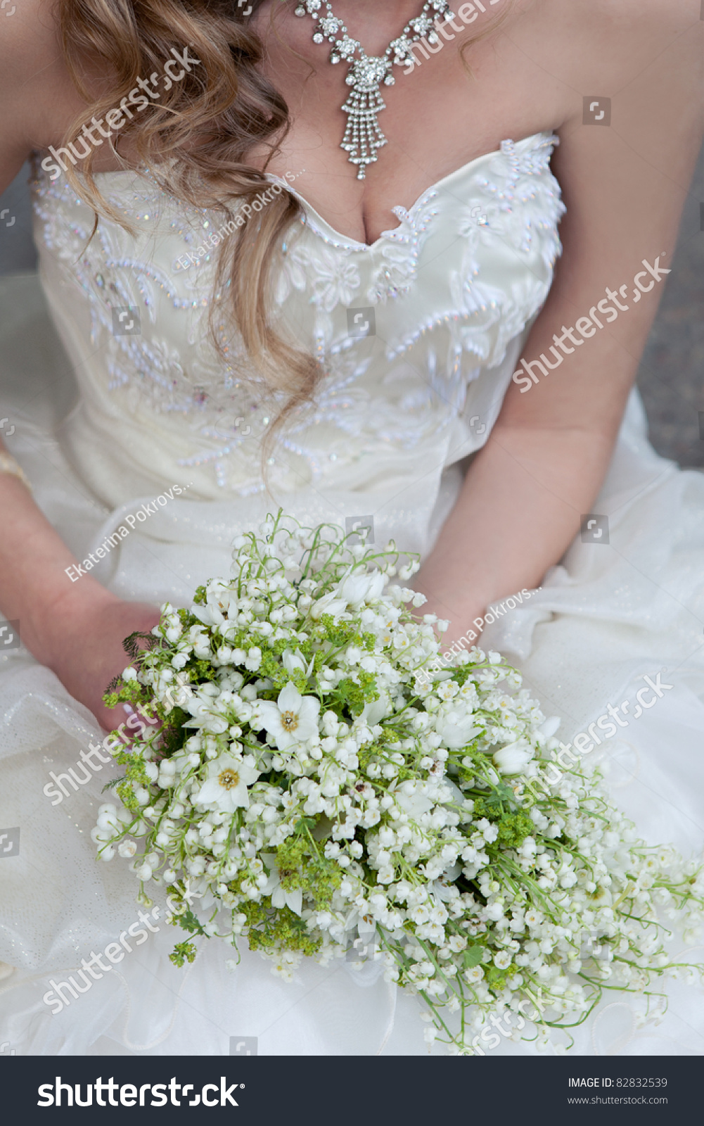 Wedding Bouquet White Small Flowers Lilyofthevalley Stock Photo