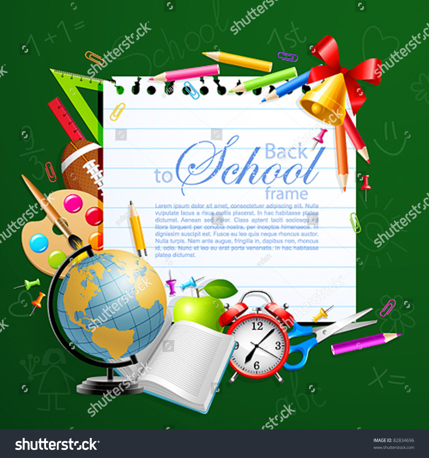 Back School Greeting Card Stationery Vector Stock Vector Royalty