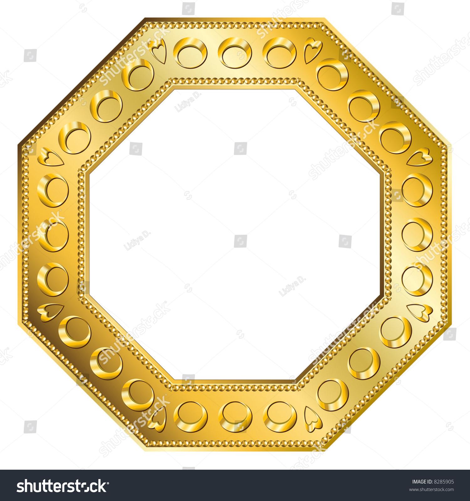 Golden Octagon Frame Digital Illustration Blends Stock Photo ...