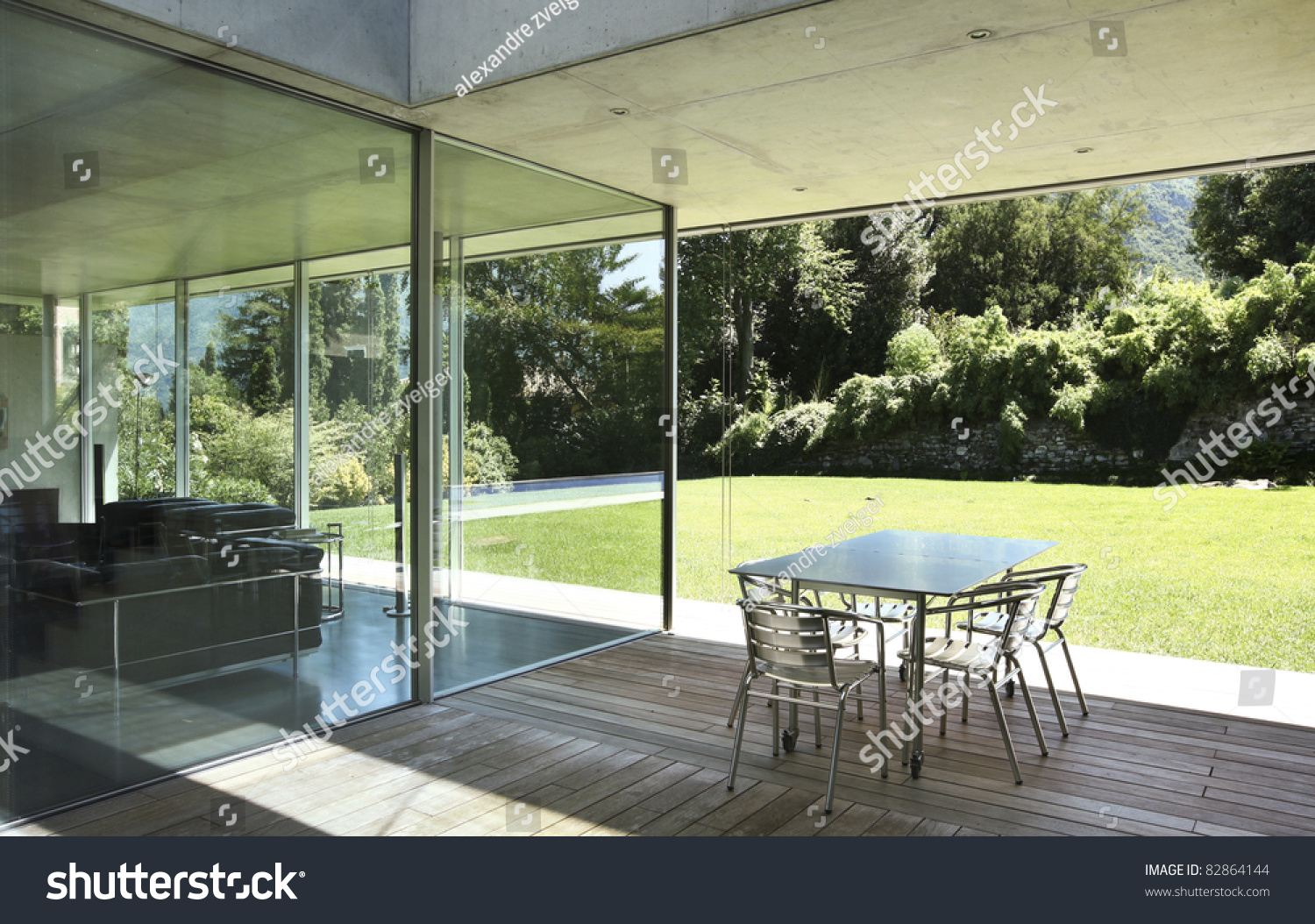 architecture modern house outdoors veranda stock photo 82864144 shutterstock. Black Bedroom Furniture Sets. Home Design Ideas