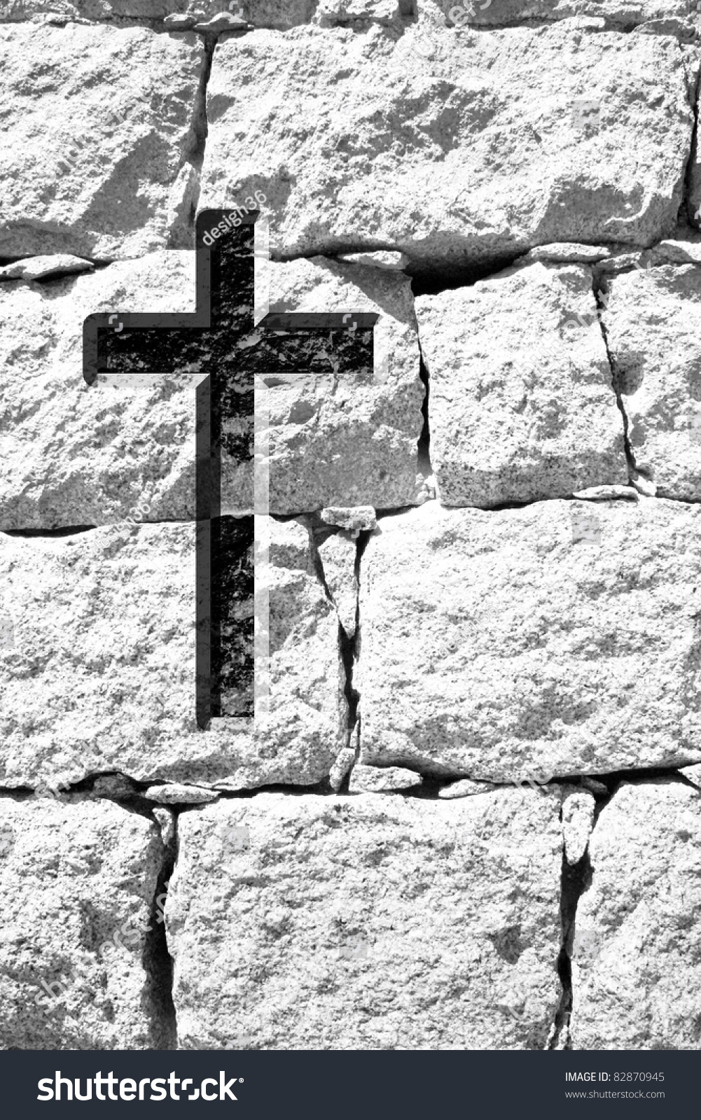 high resolution christian cross over an old stone wall stock photo 82870945   shutterstock