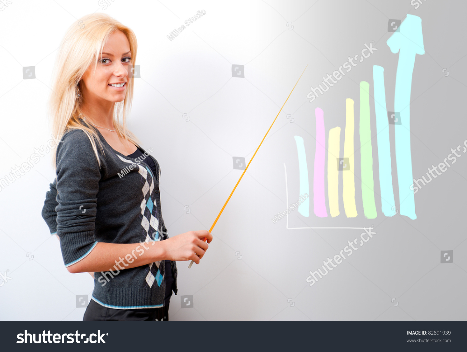 Young Business Teacher Showing Growing Profit Stock Photo 82891939 ...