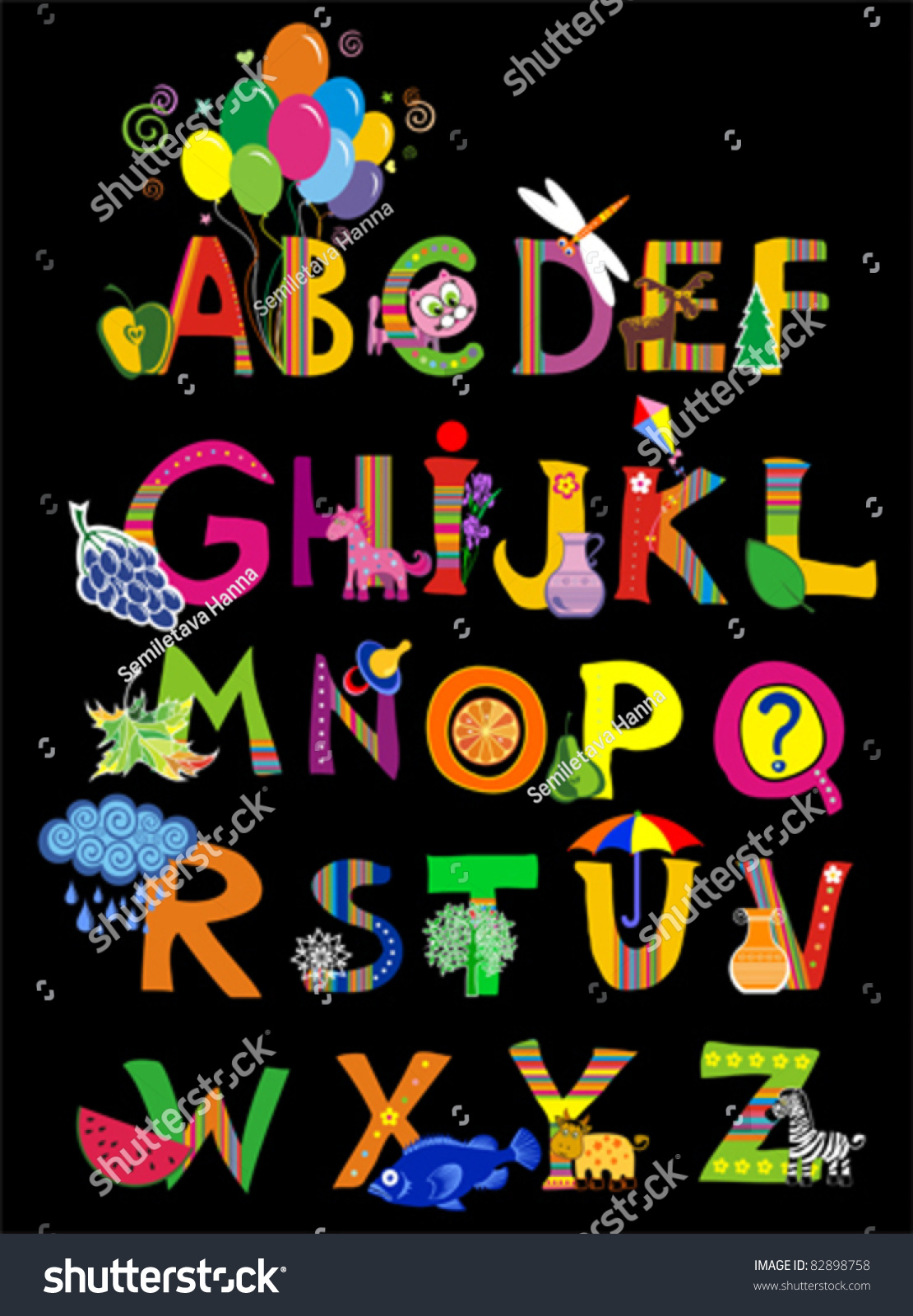 Abc Complete Childrens English Alphabet Spelt Stock Vector ...