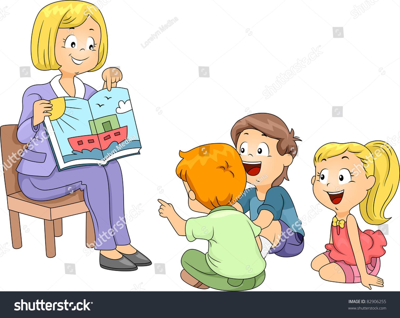 Illustration Kids Listening Story Stock Vector 82906255 ...