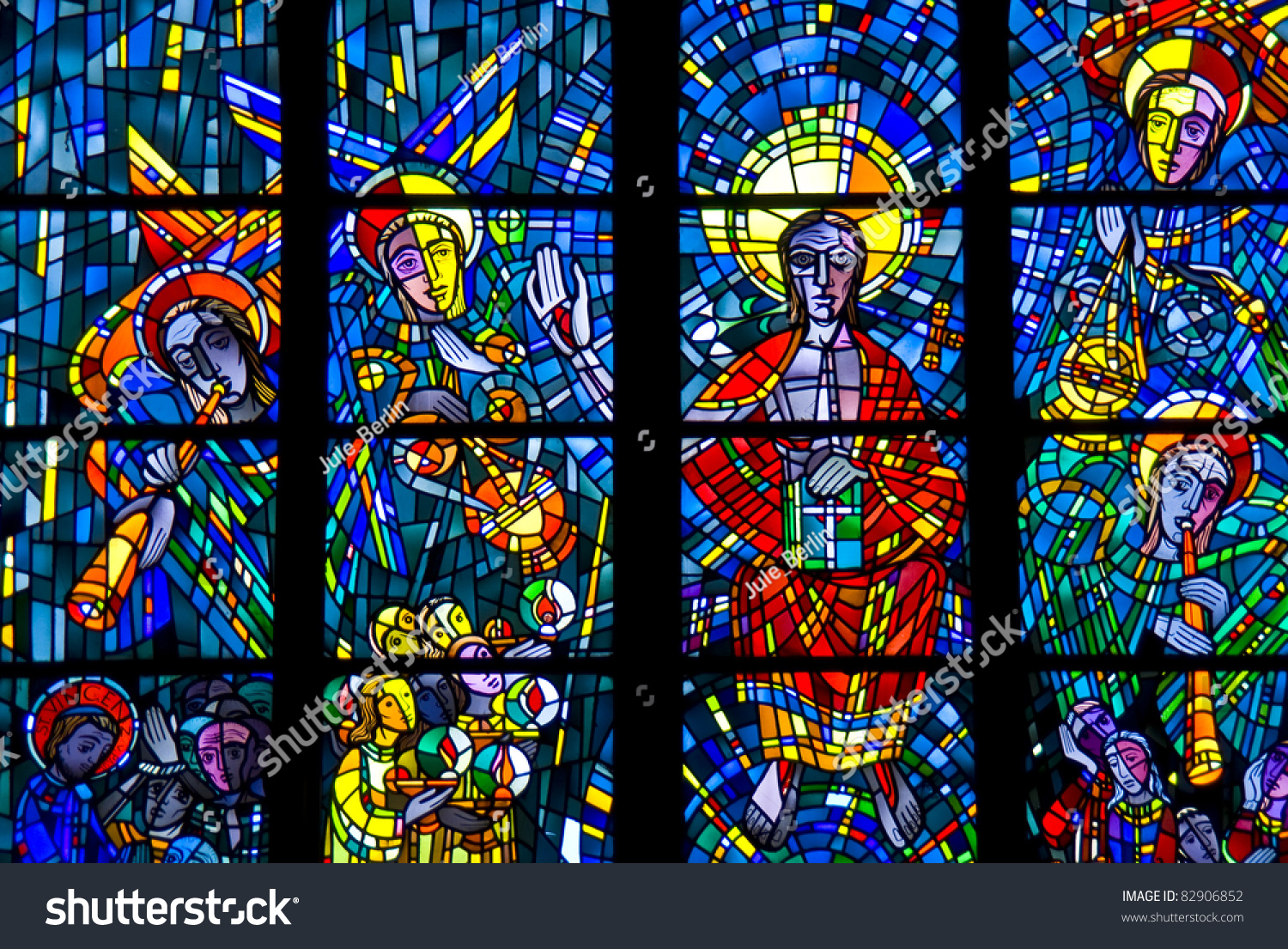 Colorful Stained Glass Window Of A Church In Bochum Stock