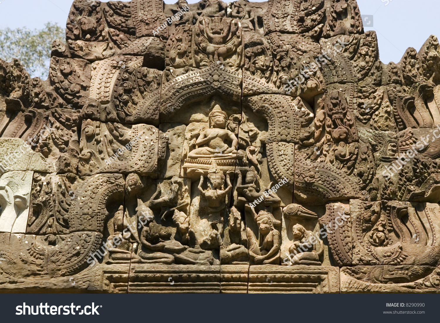 An example of khmer stone carving cambodia stock photo