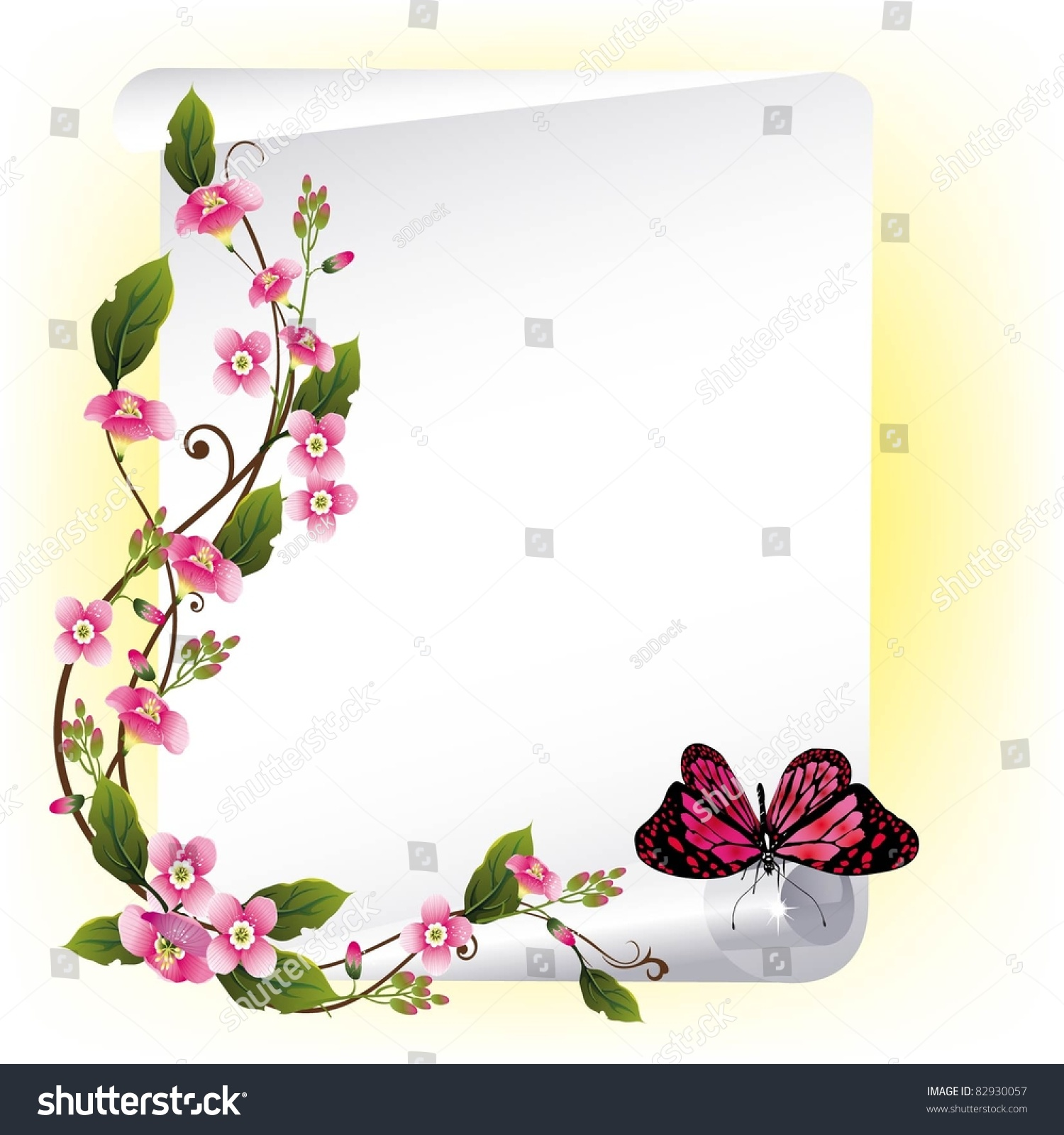 Vector Frame Beautiful Flowers Butterfly Stock Vector HD (Royalty ...