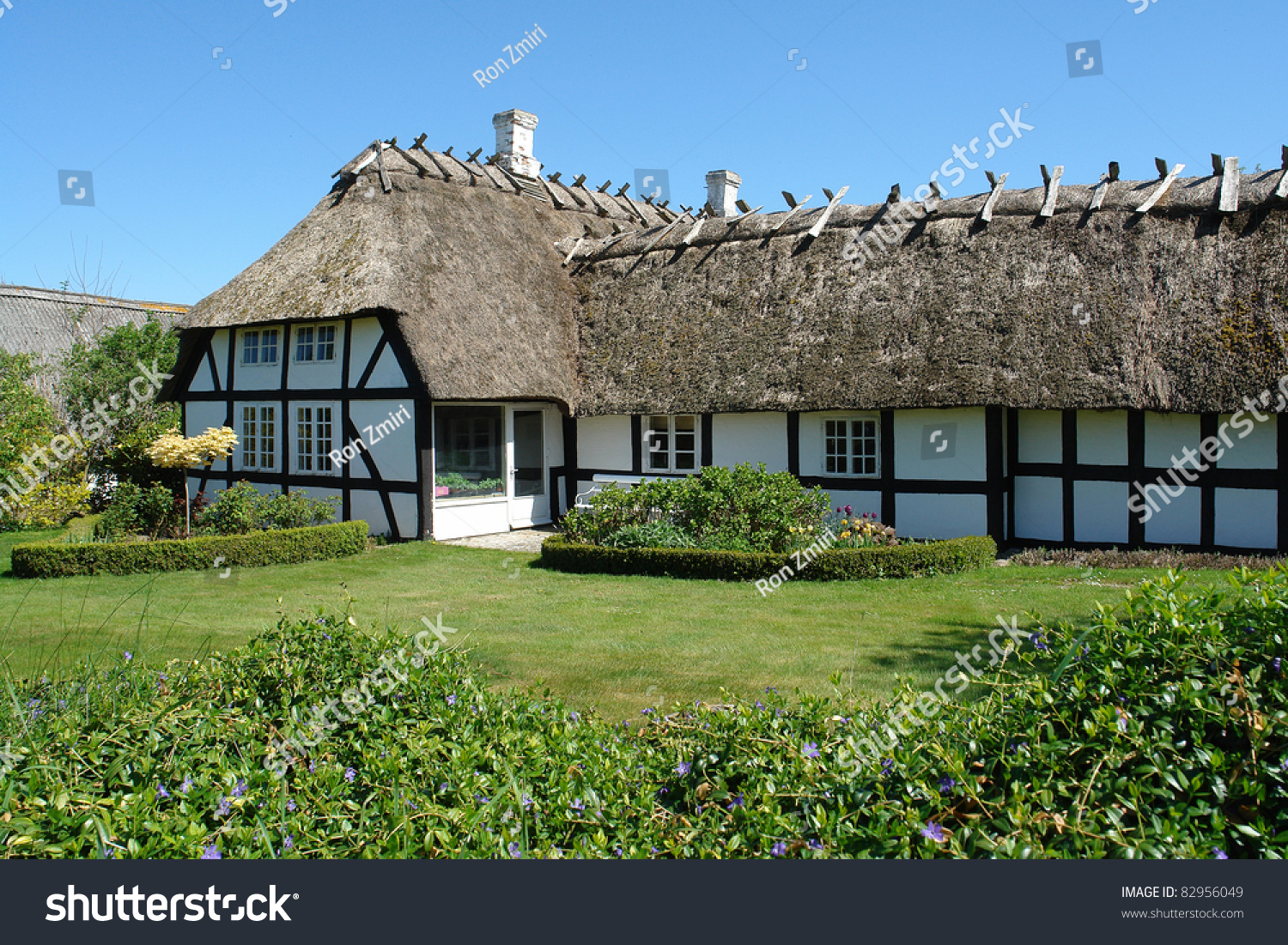 Traditional old classic decorative style danish country thached roof house home denmark stock - Traditional houses attic ...