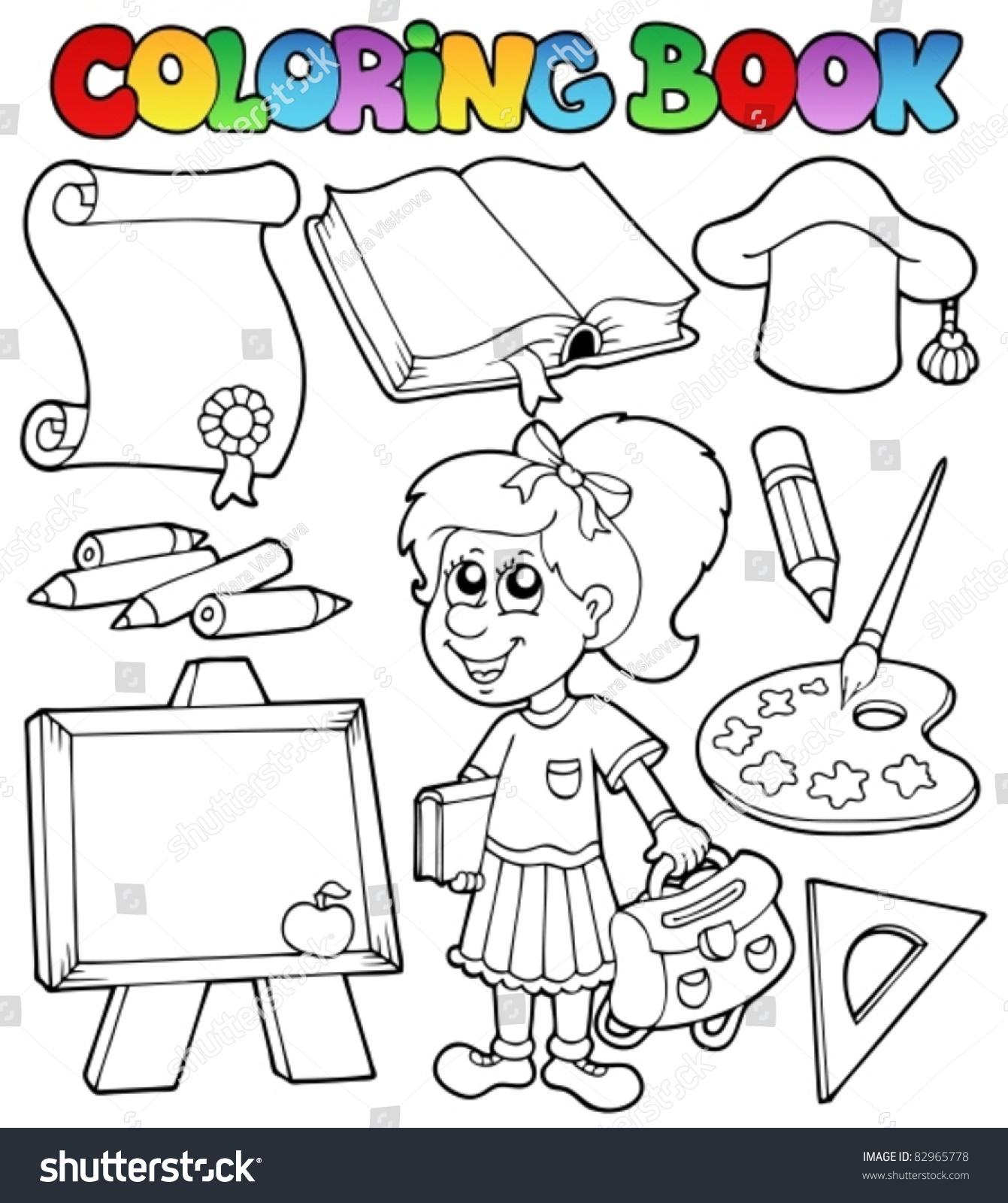 Coloring book school - Coloring Book School Topic 2 Vector Illustration