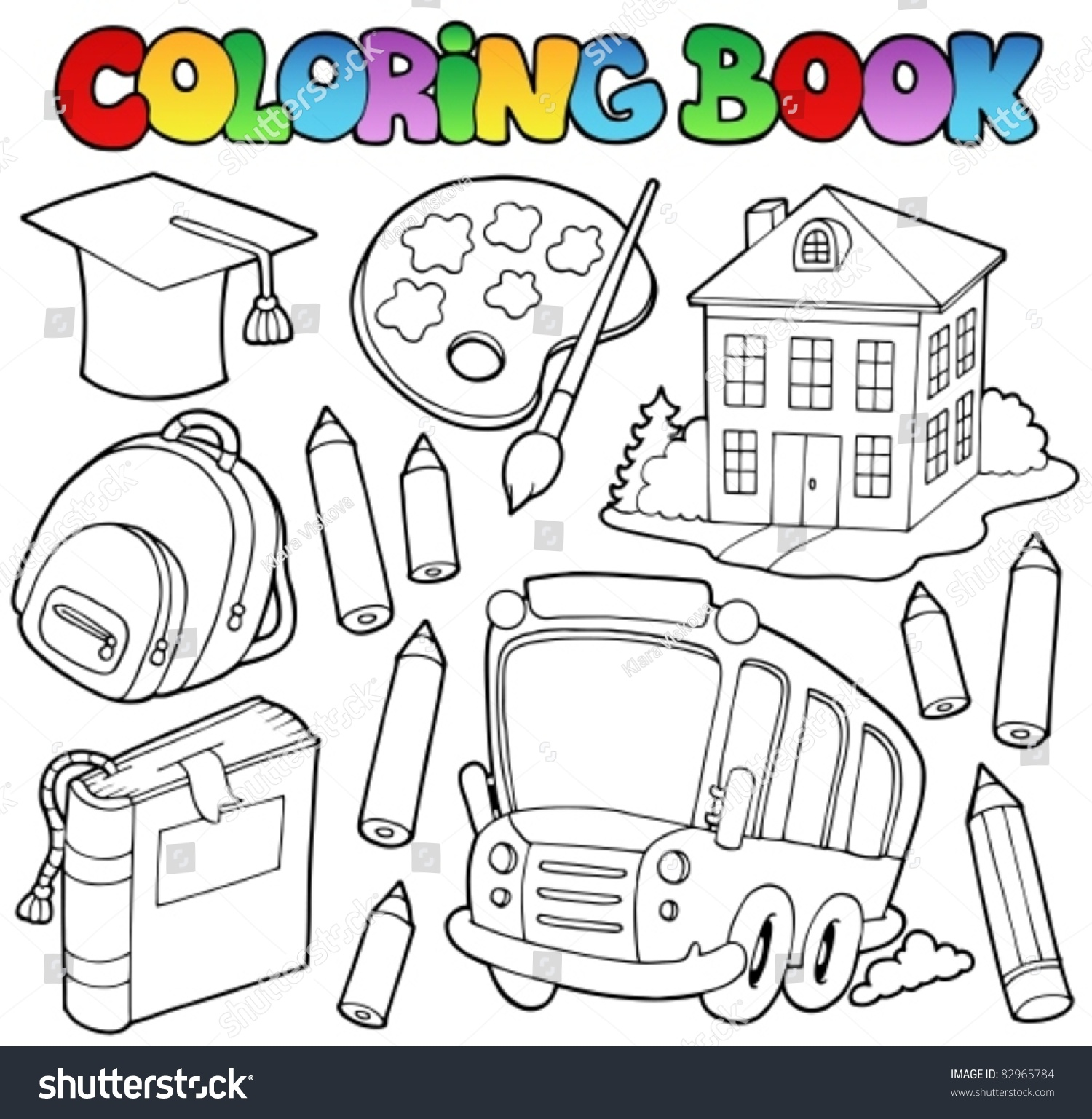 Coloring book school - Coloring Book School Cartoons 9 Vector Illustration