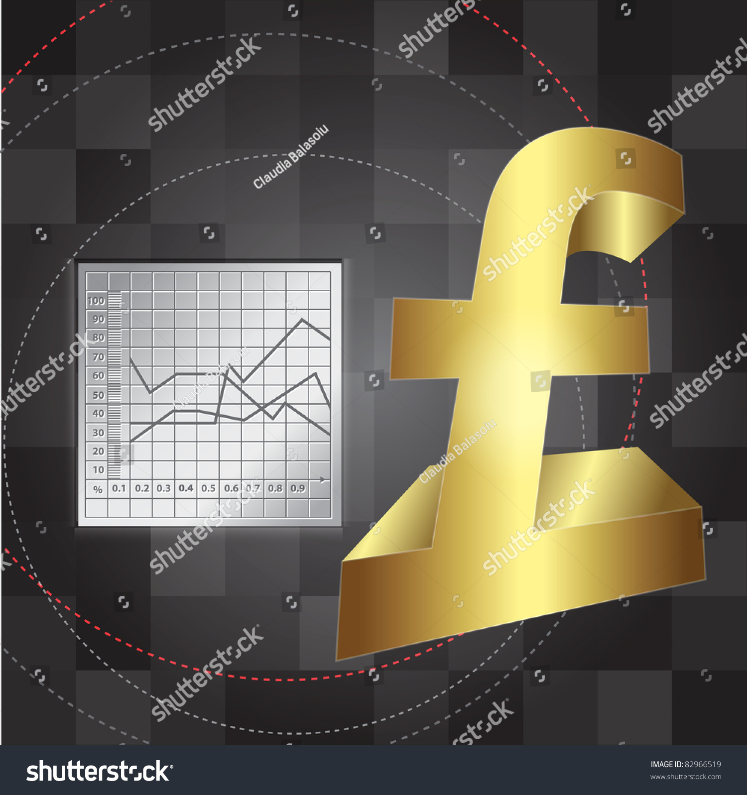 Finance Background: Financial Background With 3d Lira Sign Stock Vector