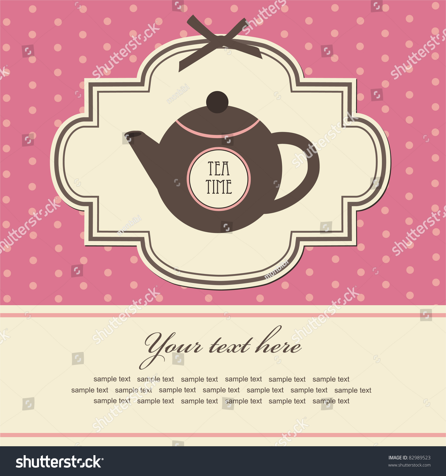Vintage Card With Teapot. Vector Illustration - 82989523 ...