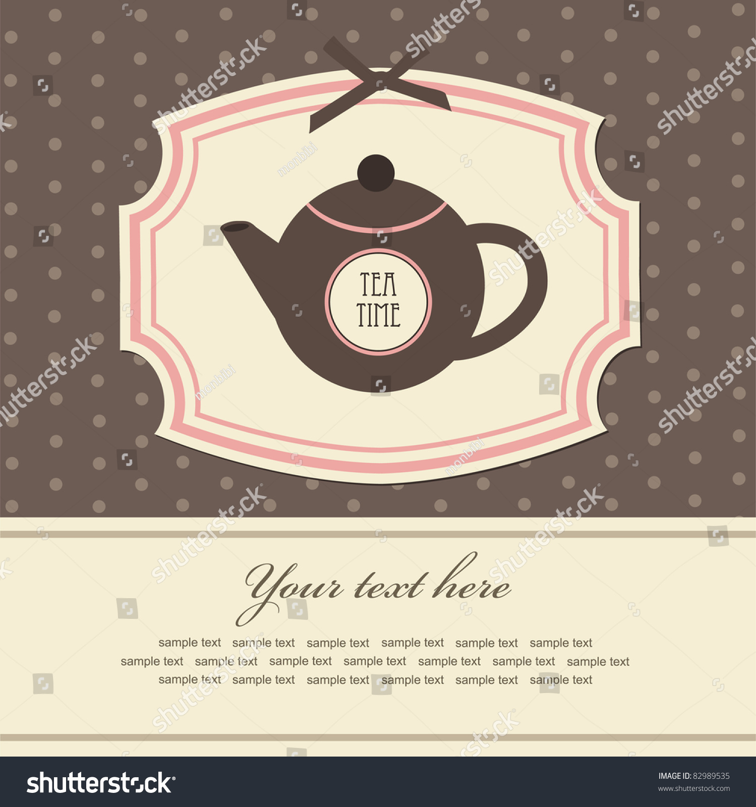 Vintage Card With Teapot. Vector Illustration - 82989535 ...