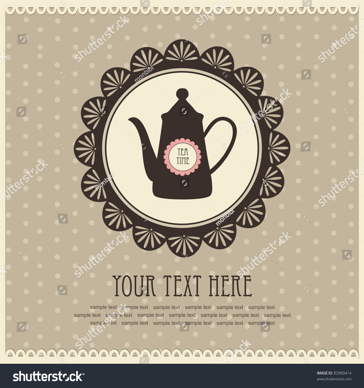 Vintage Card With Teapot. Vector Illustration - 82990414 ...