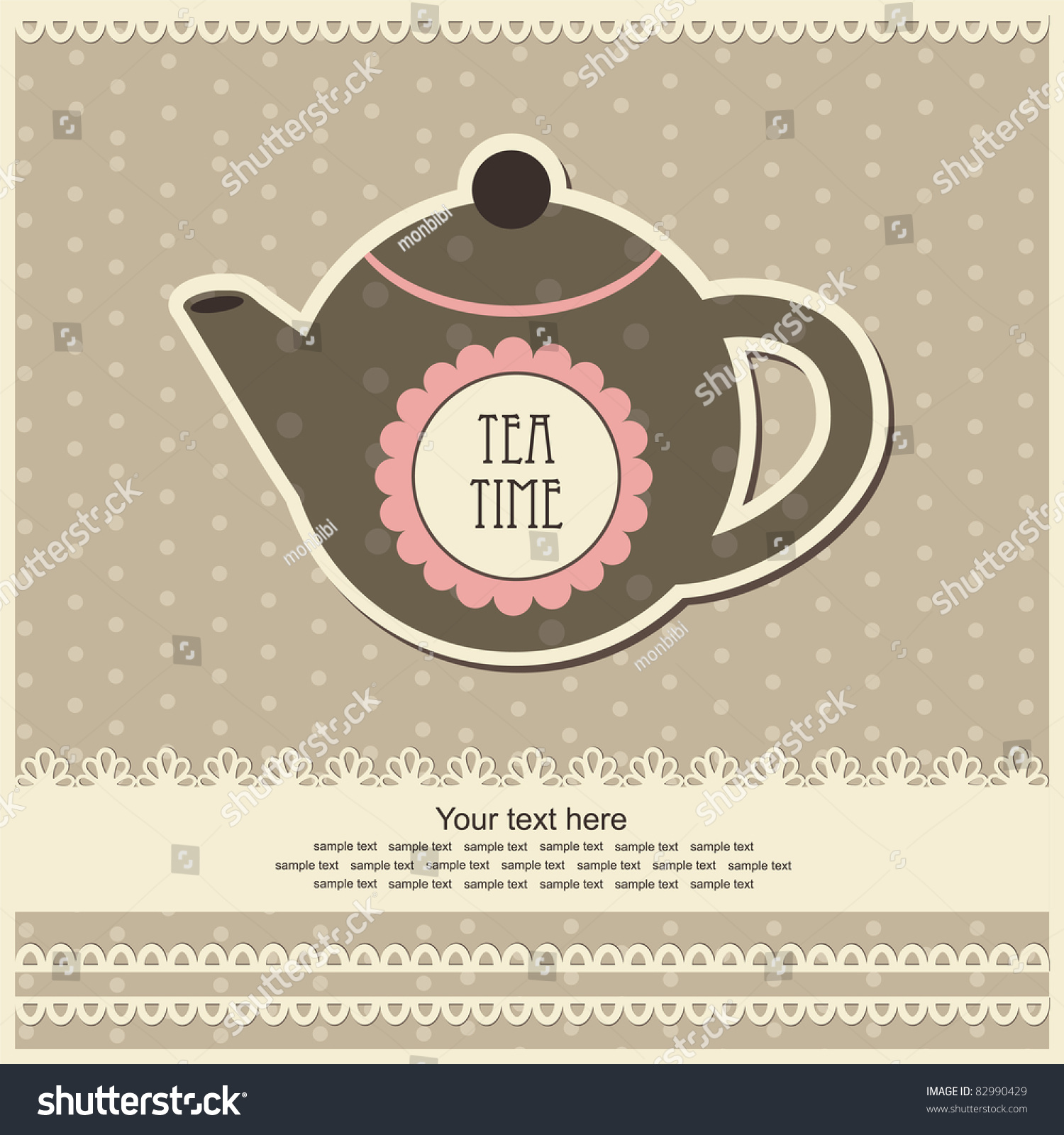 Vintage Card With Teapot. Vector Illustration - 82990429 ...