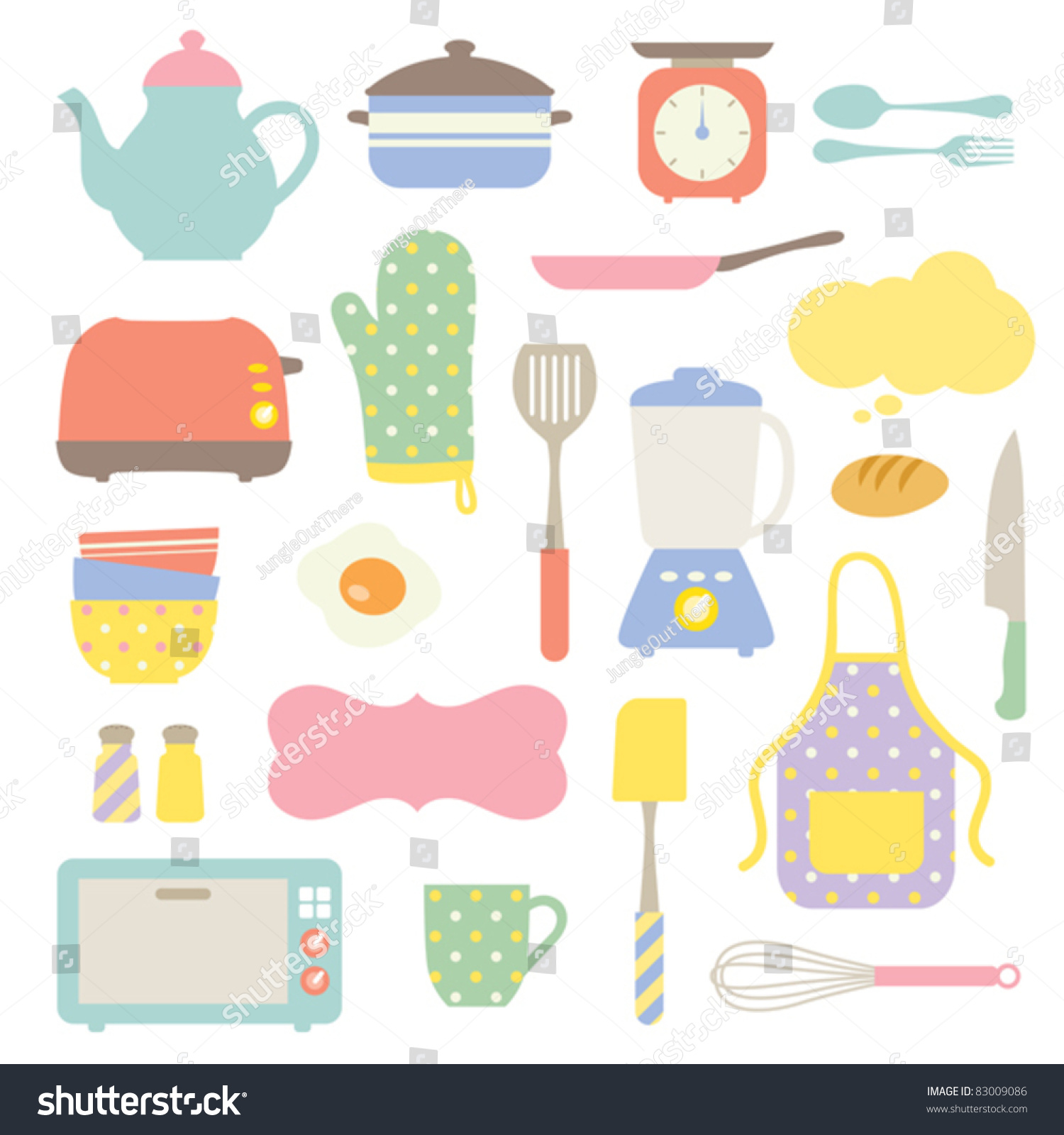 Cute Kitchen Cute Kitchen Collection Stock Vector 83009086 Shutterstock