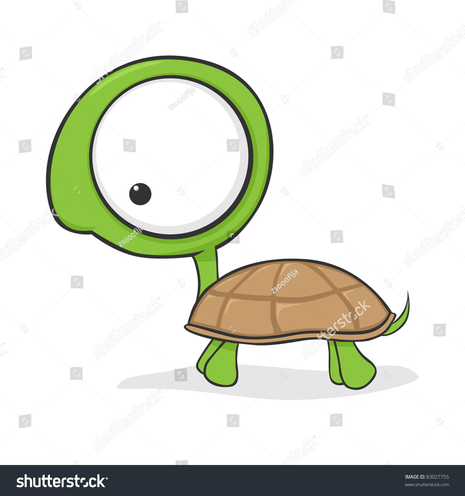 cute cartoon turtle huge eyes vector stock illustration
