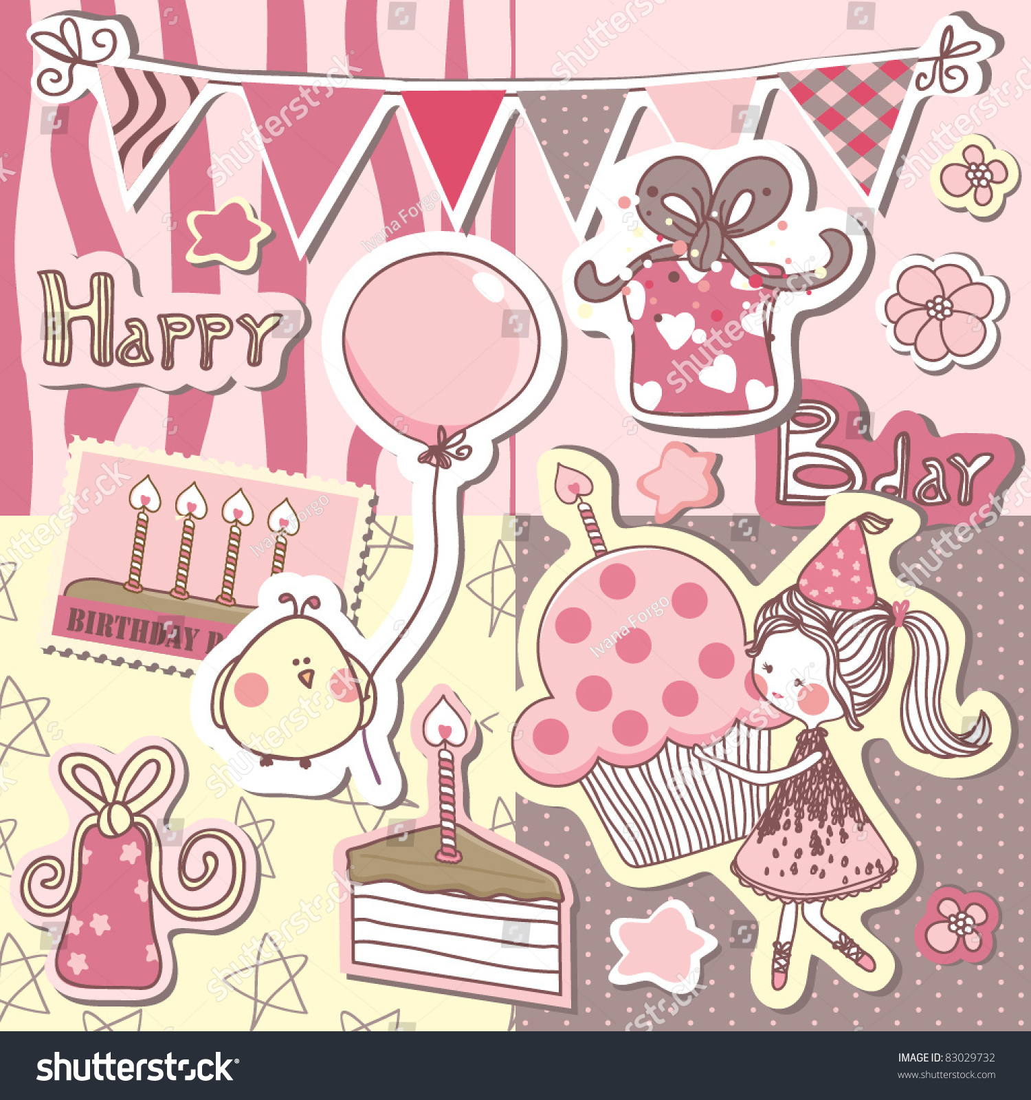 Happy Birthday Scrapbook Set Stock Vector Royalty Free 83029732