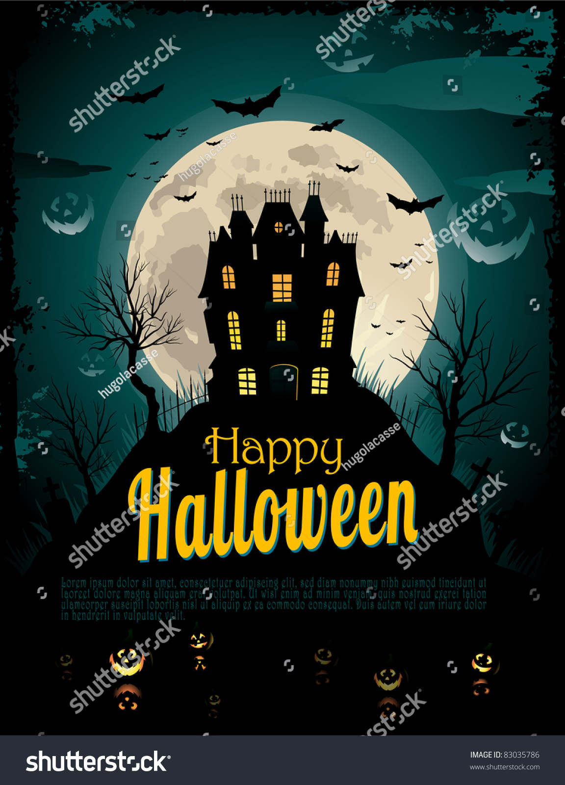 Halloween Poster Place Text Stock Vector 83035786 - Shutterstock
