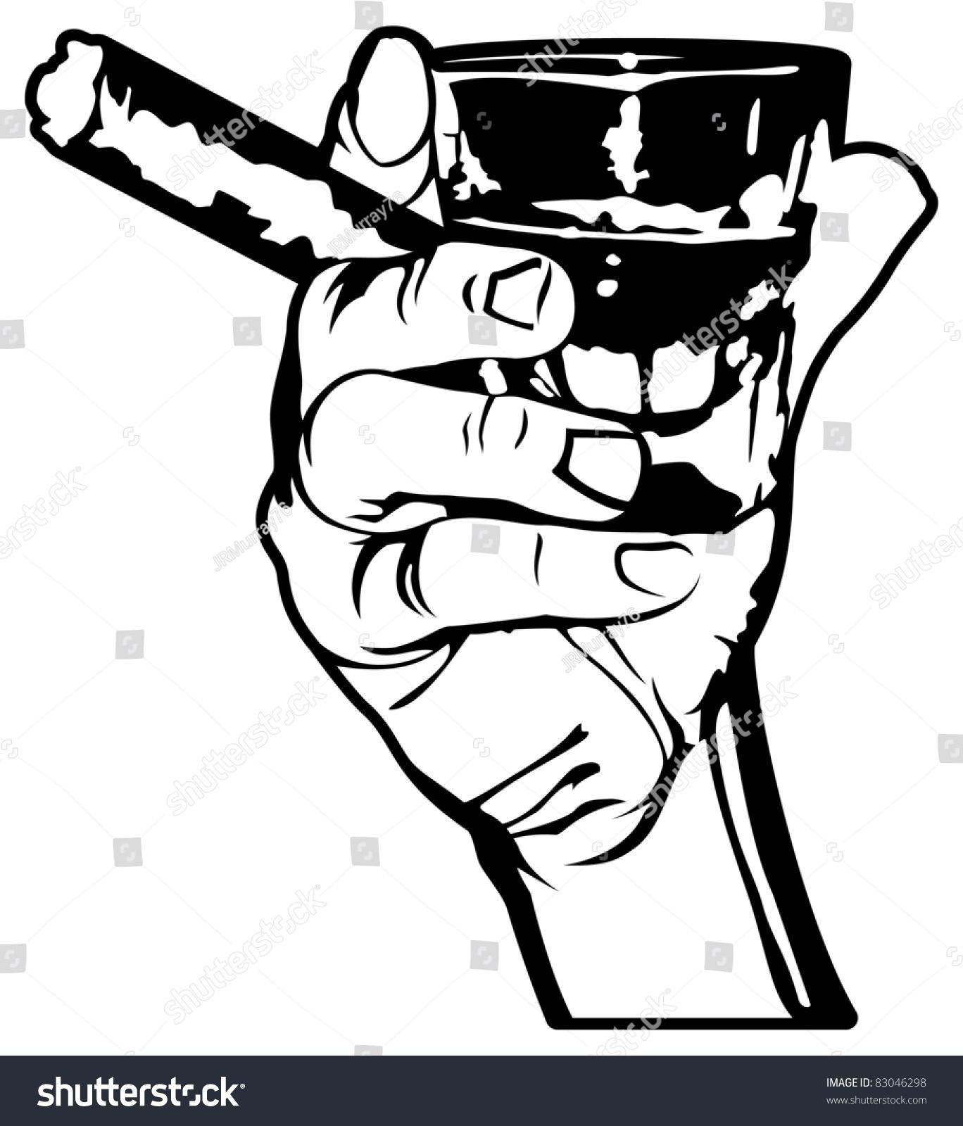 Holding Shot Whiskey Cigar Vector Stock Vector 83046298