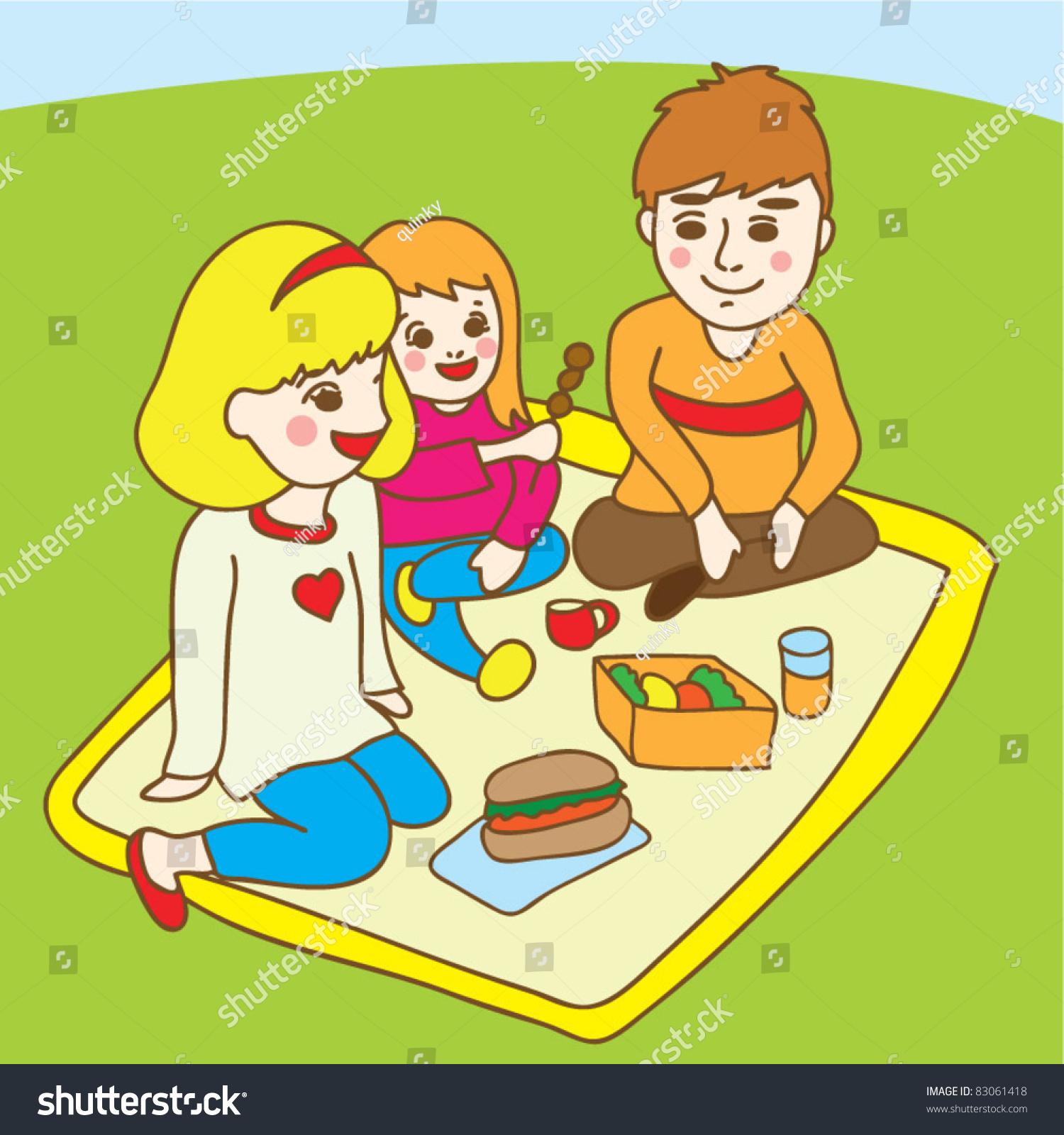 Family Picnic Park Stock Vector 83061418 - Shutterstock