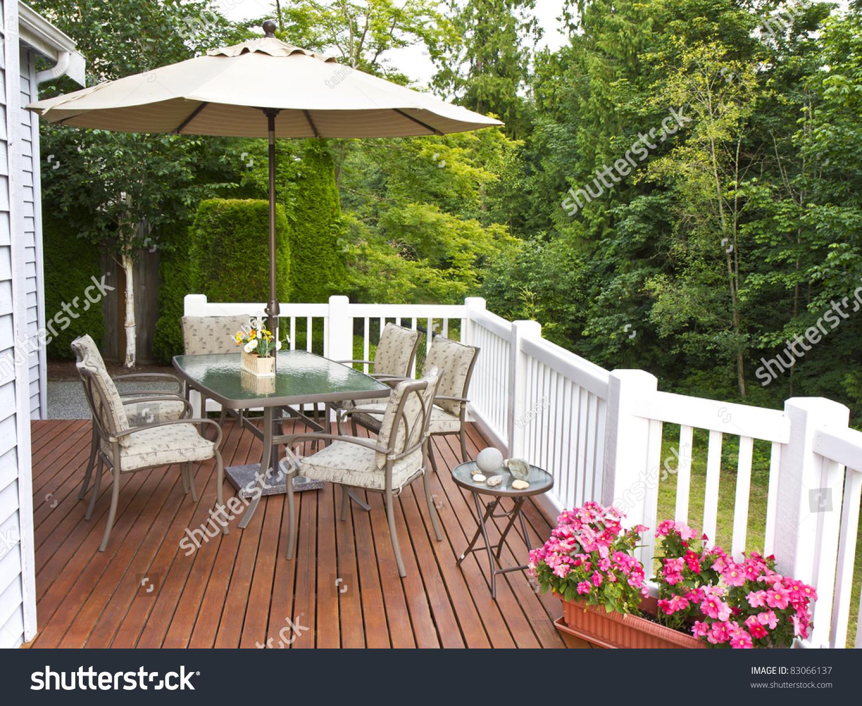 Outdoor Patio Setup On Cedar Wood Stock Photo 83066137