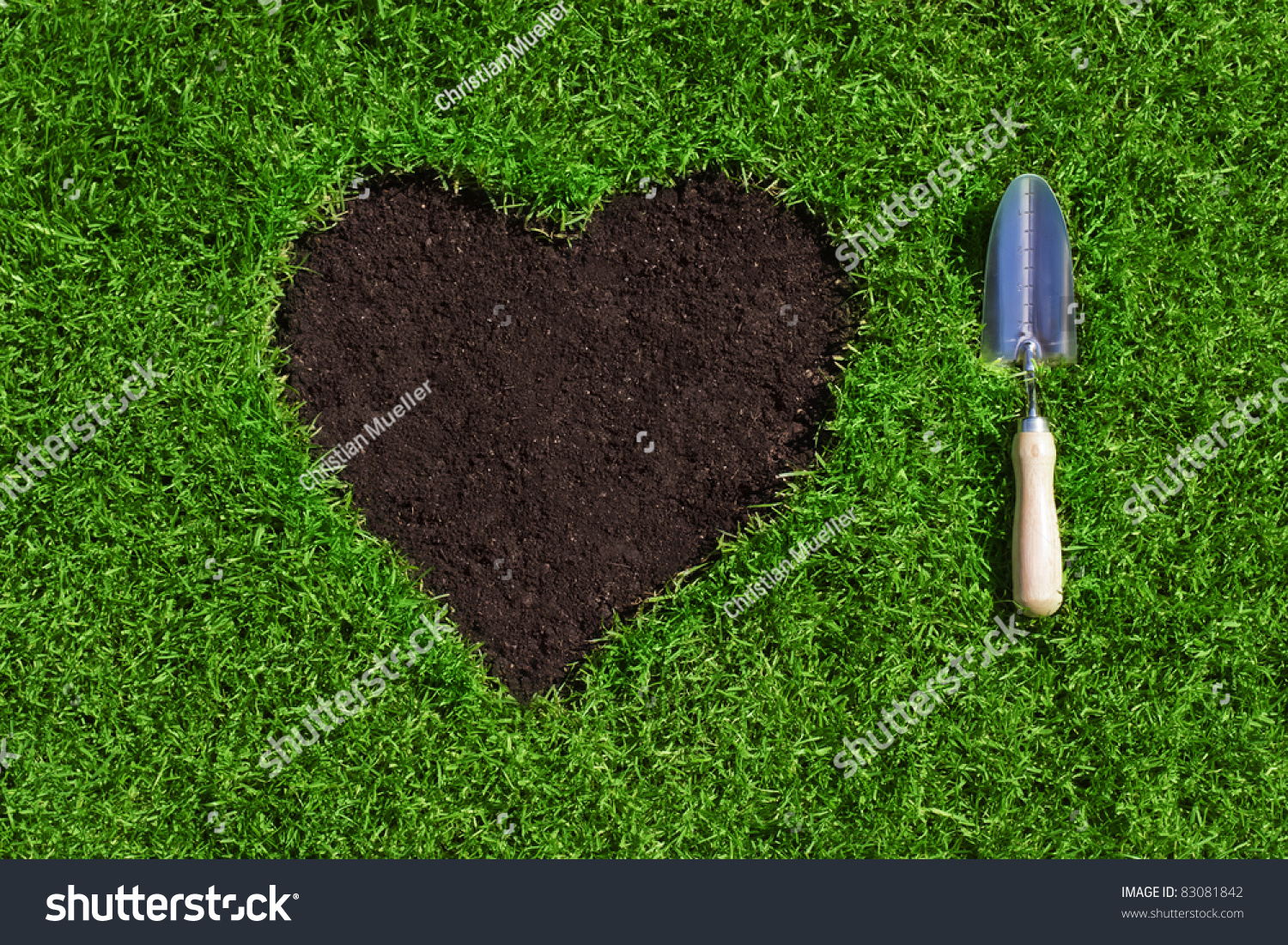 Heart soil inside green grass hand stock photo 83081842 for Soil and green