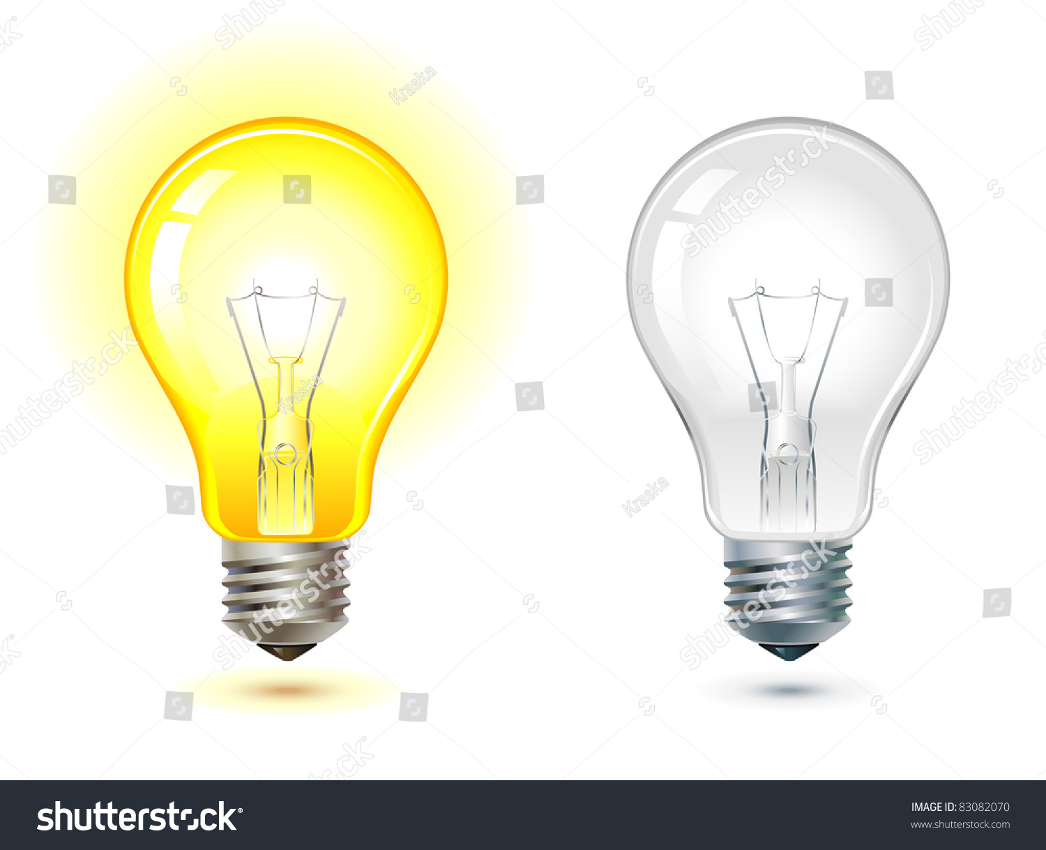 Glowing Turned Off Electric Light Bulb Stock Vector 83082070 Shutterstock