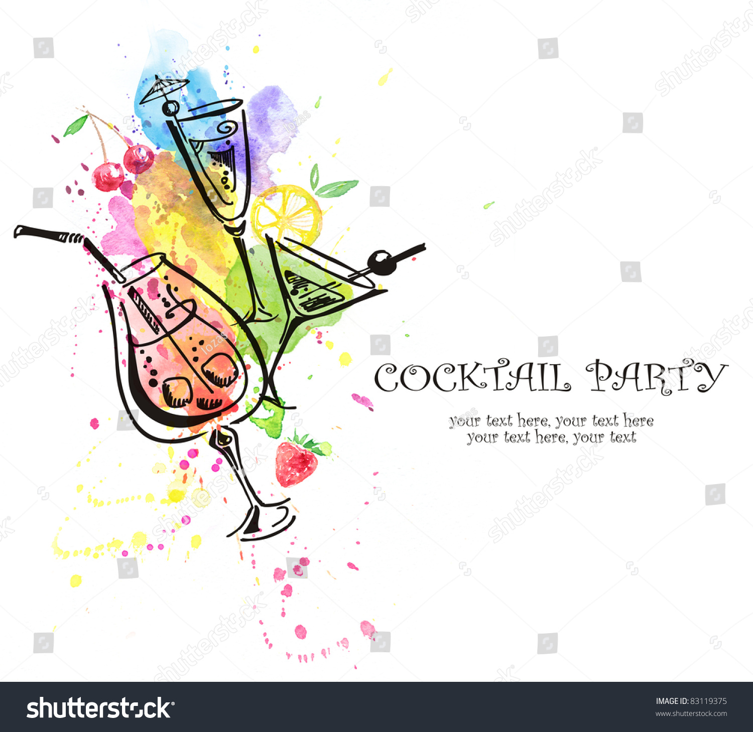 Cocktail Party Invitation Illustration 83119375 Shutterstock – Coctail Party Invitation