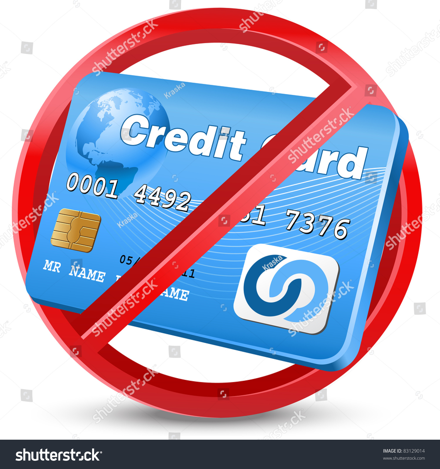 No Credit Card Allowed Sign Stock Vector 83129014