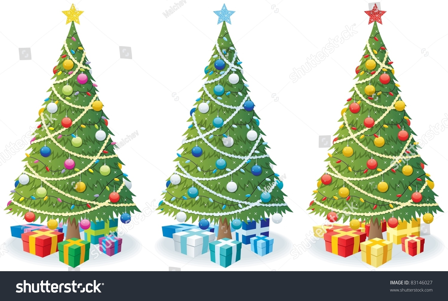 Cartoon Illustration Christmas Tree 3 Color Stock Vector 83146027 ...