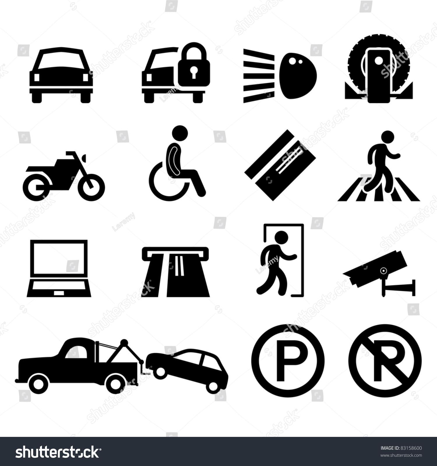 car park parking area sign symbol stock vector 83158600