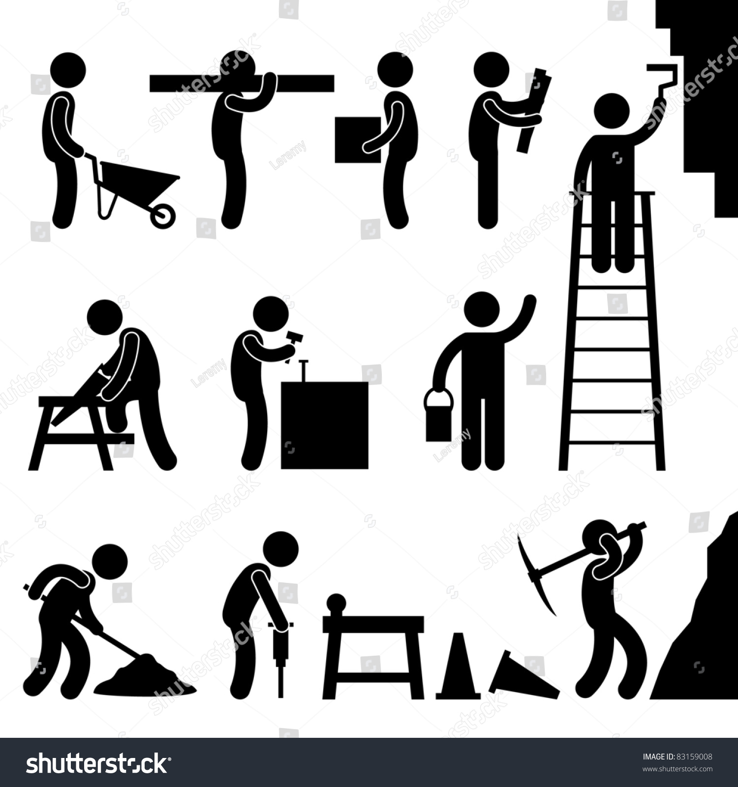 Man people working construction carrying building stock vector man people working construction carrying building industry painting sawing hard labor pictogram icon symbol sign biocorpaavc Images