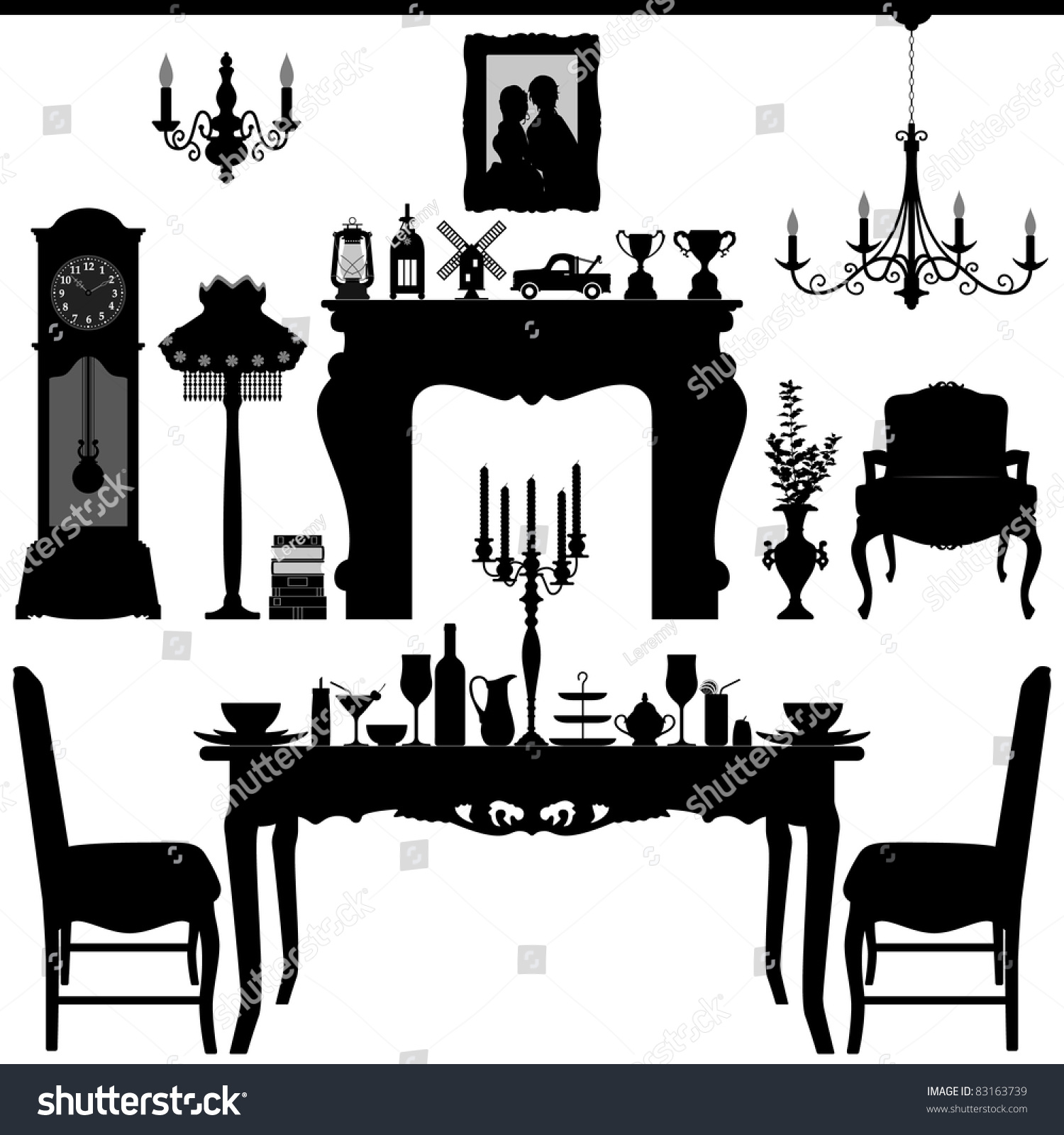 Dining area traditional old antique furniture stock vector