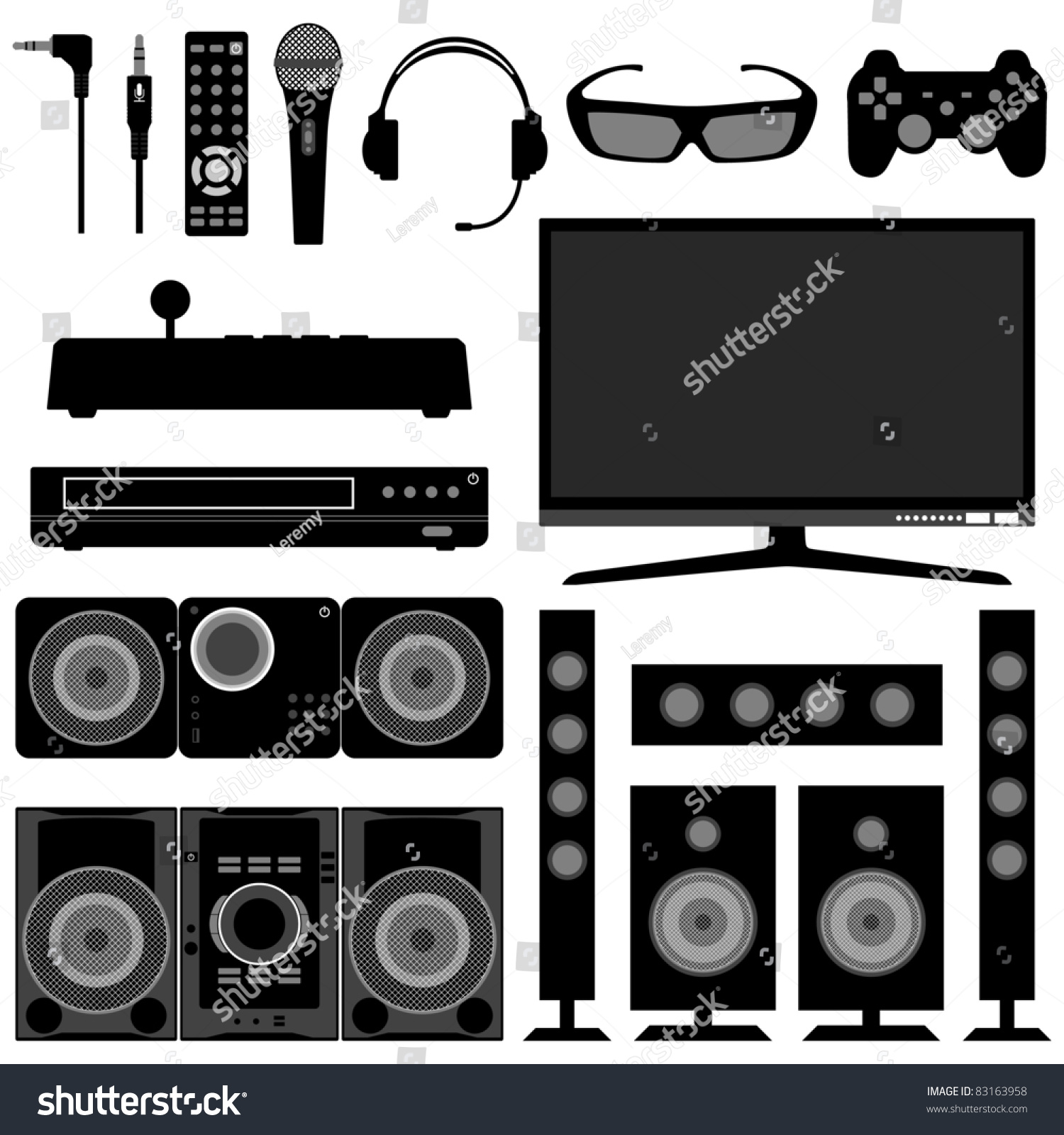 living room appliances. Audio Visual System Electronic Electrical Appliances for Living Room Stock Vector