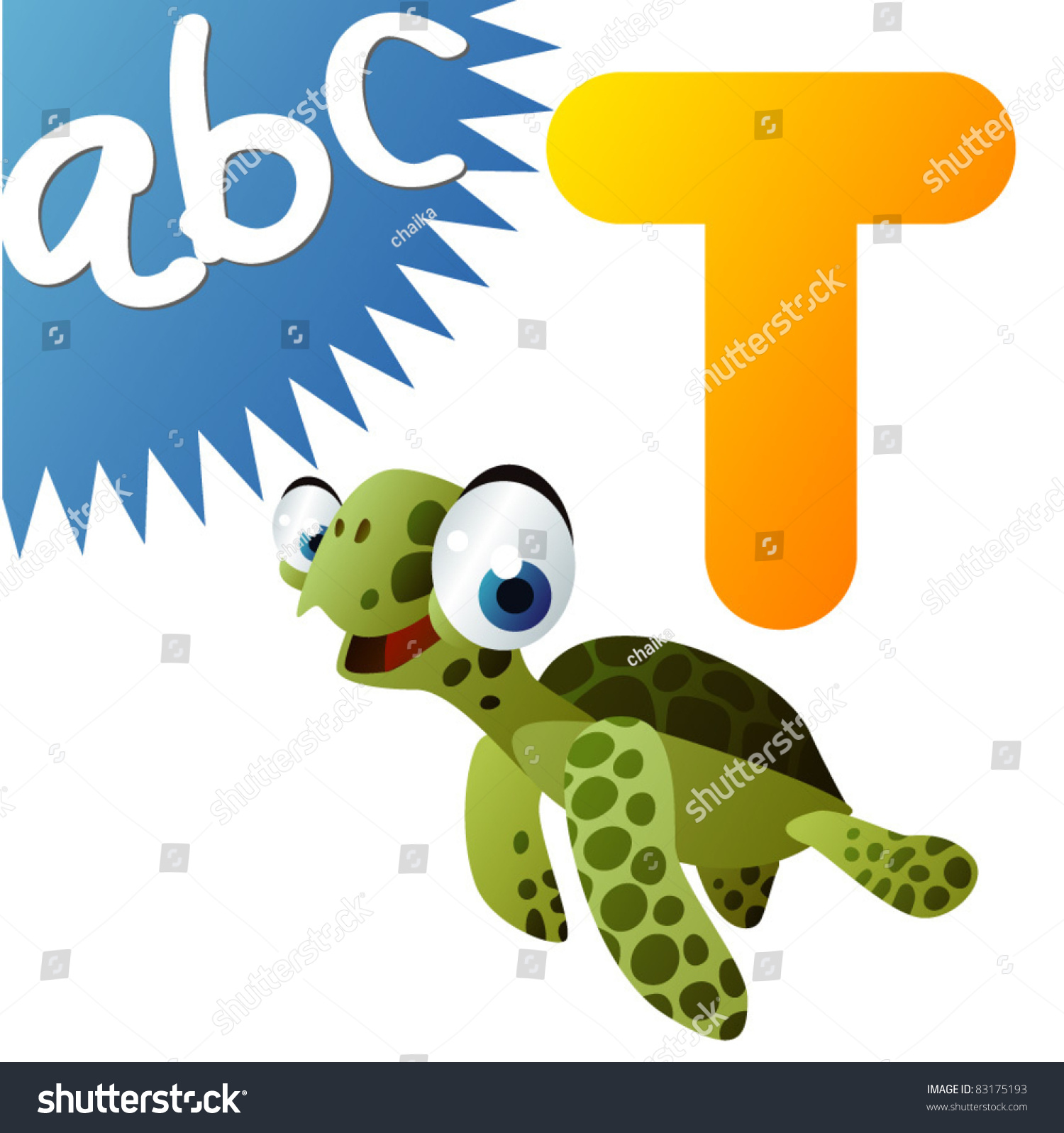 T Is For Turtle Stock Vector Illustration 83175193