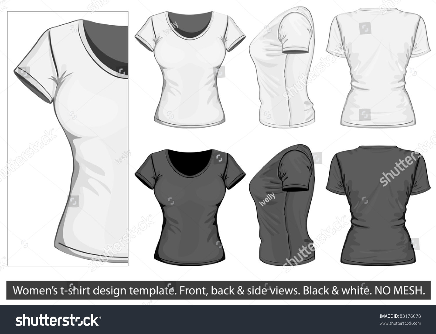 Vector womens tshirt design template front stock vector for Stock t shirt designs