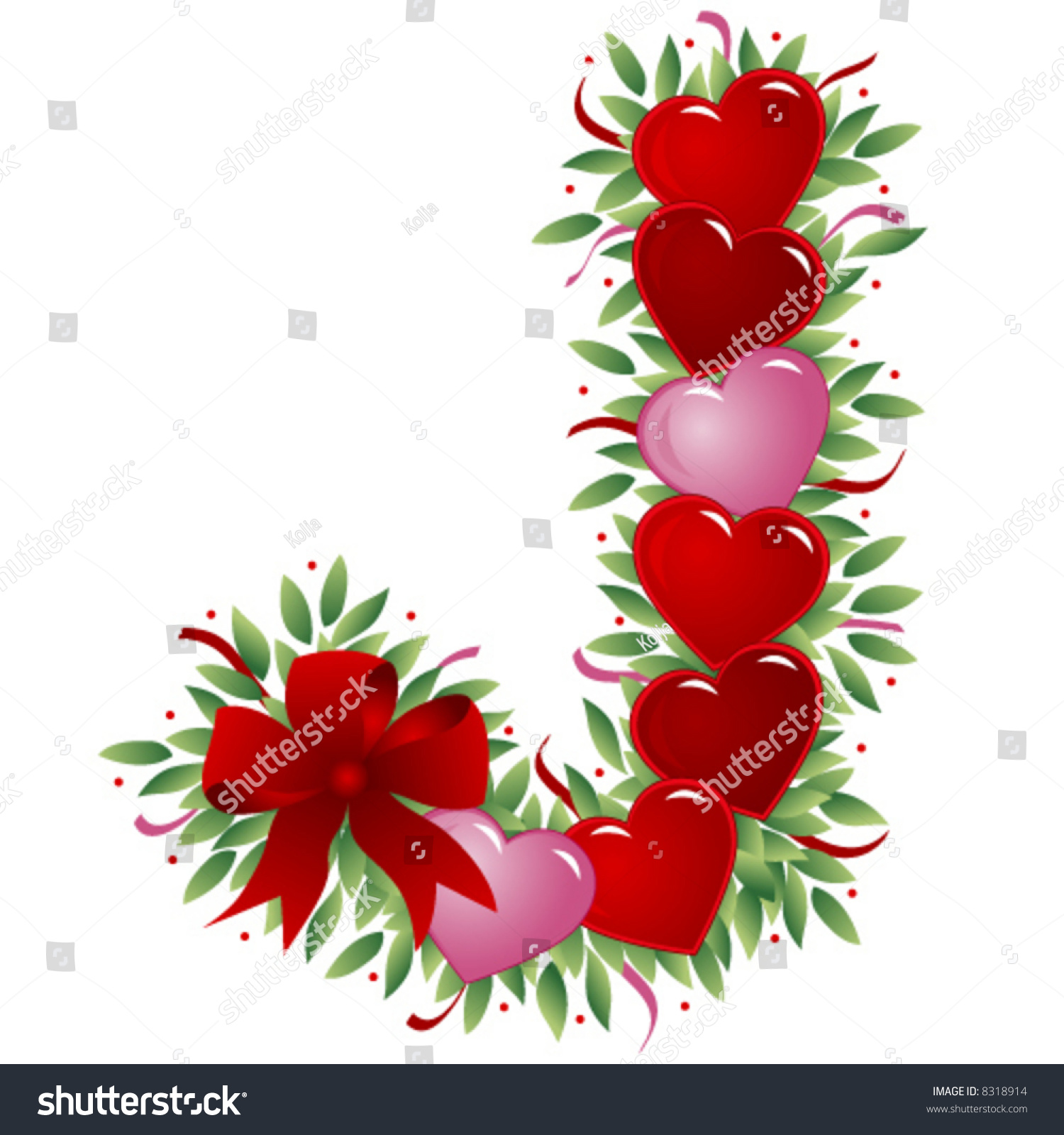 Letter J Valentines Love Letters Stock Vector (Royalty Free