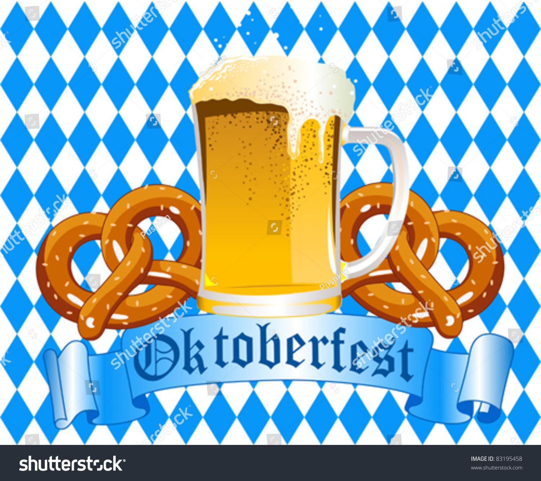 Oktoberfest Celebration Background Beer Pretzel Stock ...