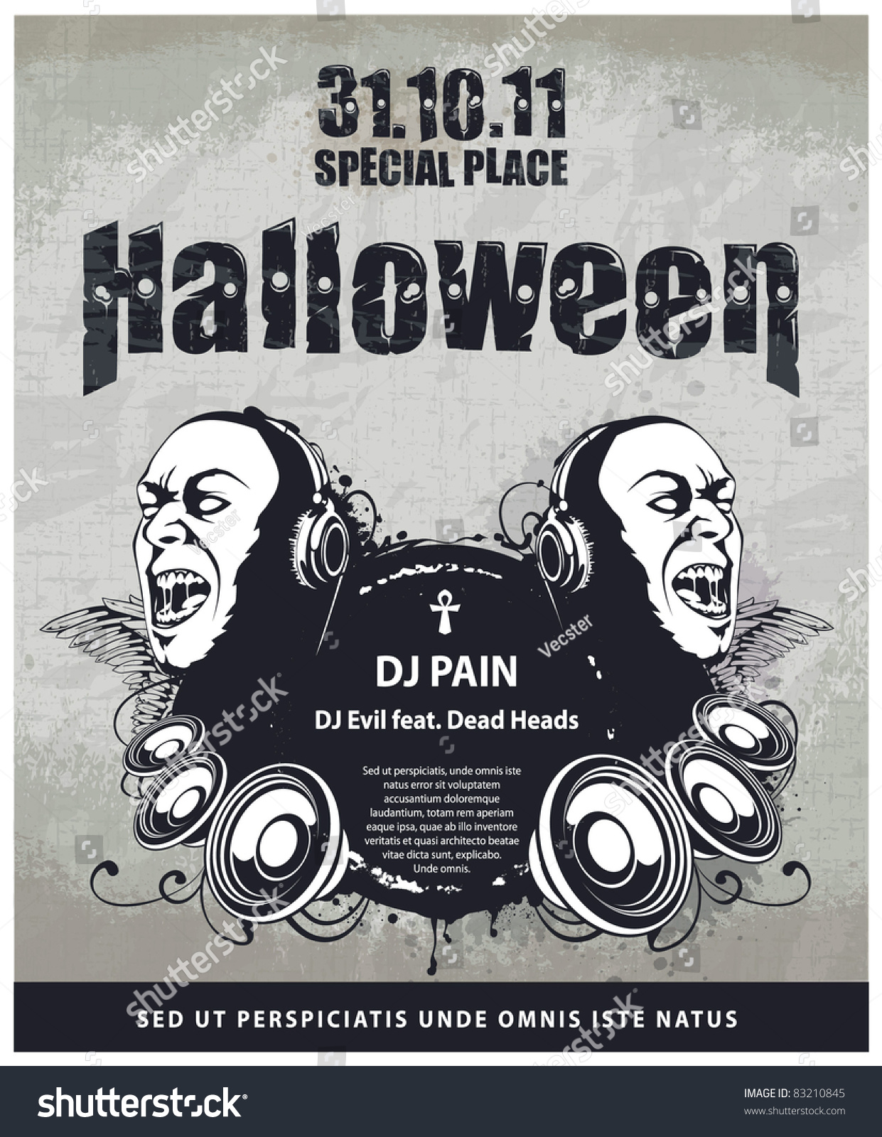 Grungy Poster Halloween Party Layered Vector Stock Vector 83210845 ...