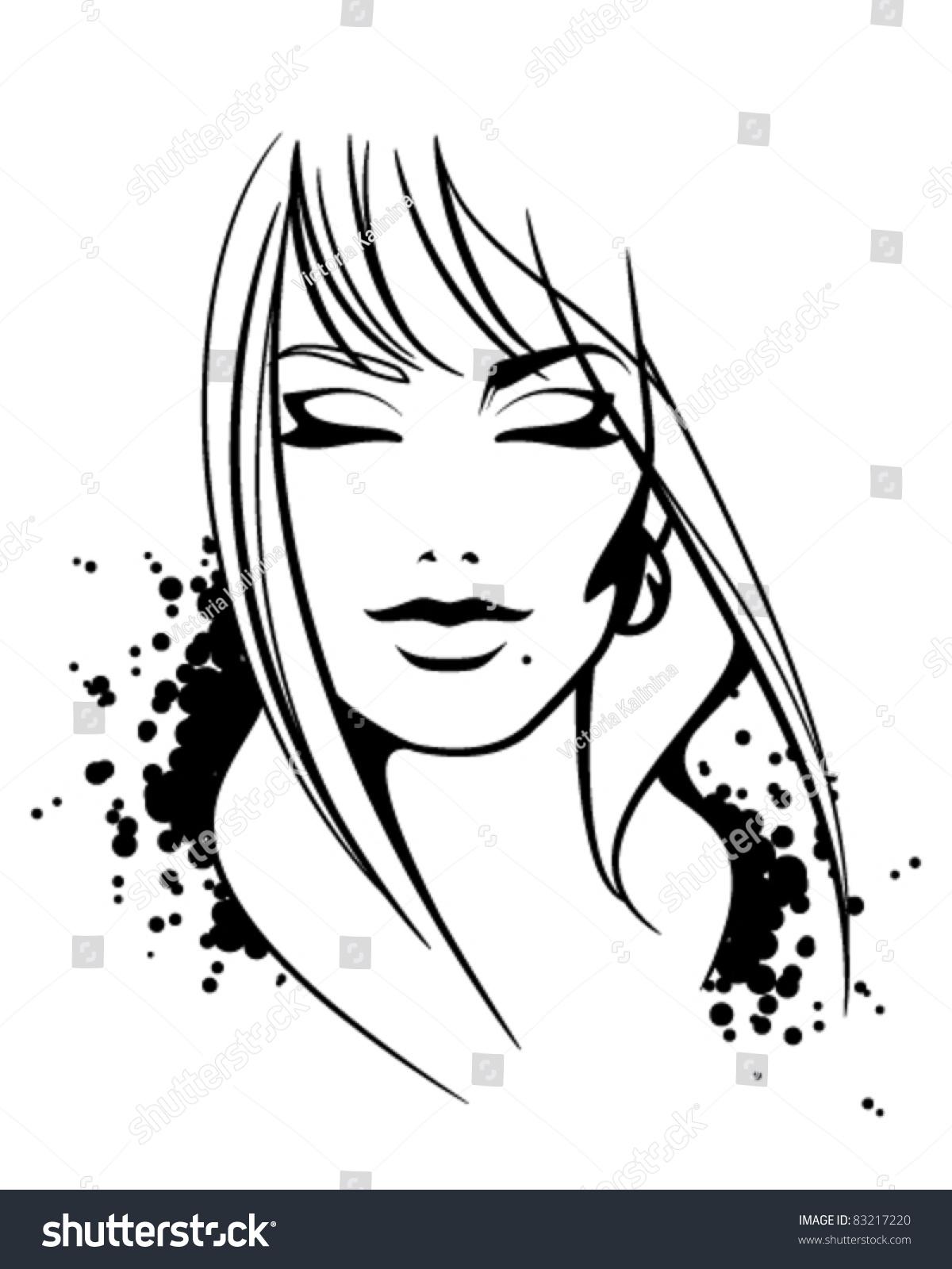 fashion illustration beautiful female face sketch stock