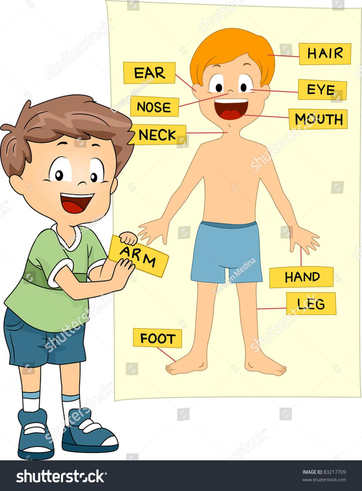 Illustration Kid Identifying Parts Body Stock Vector