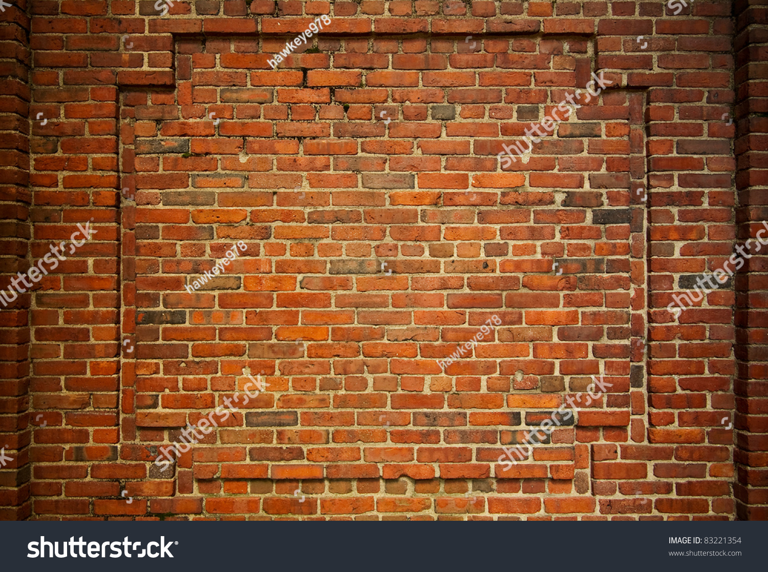 Old Brick Wall With Decorative Bricks Forming An Internal Frame