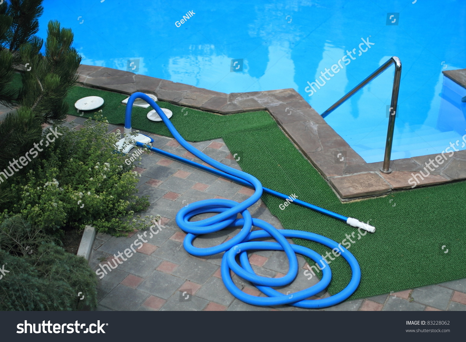 Swimming Pool Cleaning Equipment Stock Photo 83228062
