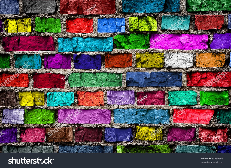 rainbow colourful brick wall background stock photo
