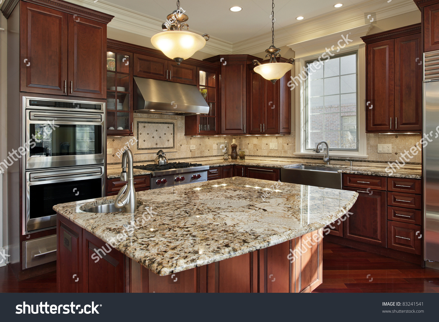 Granite Island Kitchen Kitchen Granite Island Cherry Wood Cabinetry Stock Photo 83241541