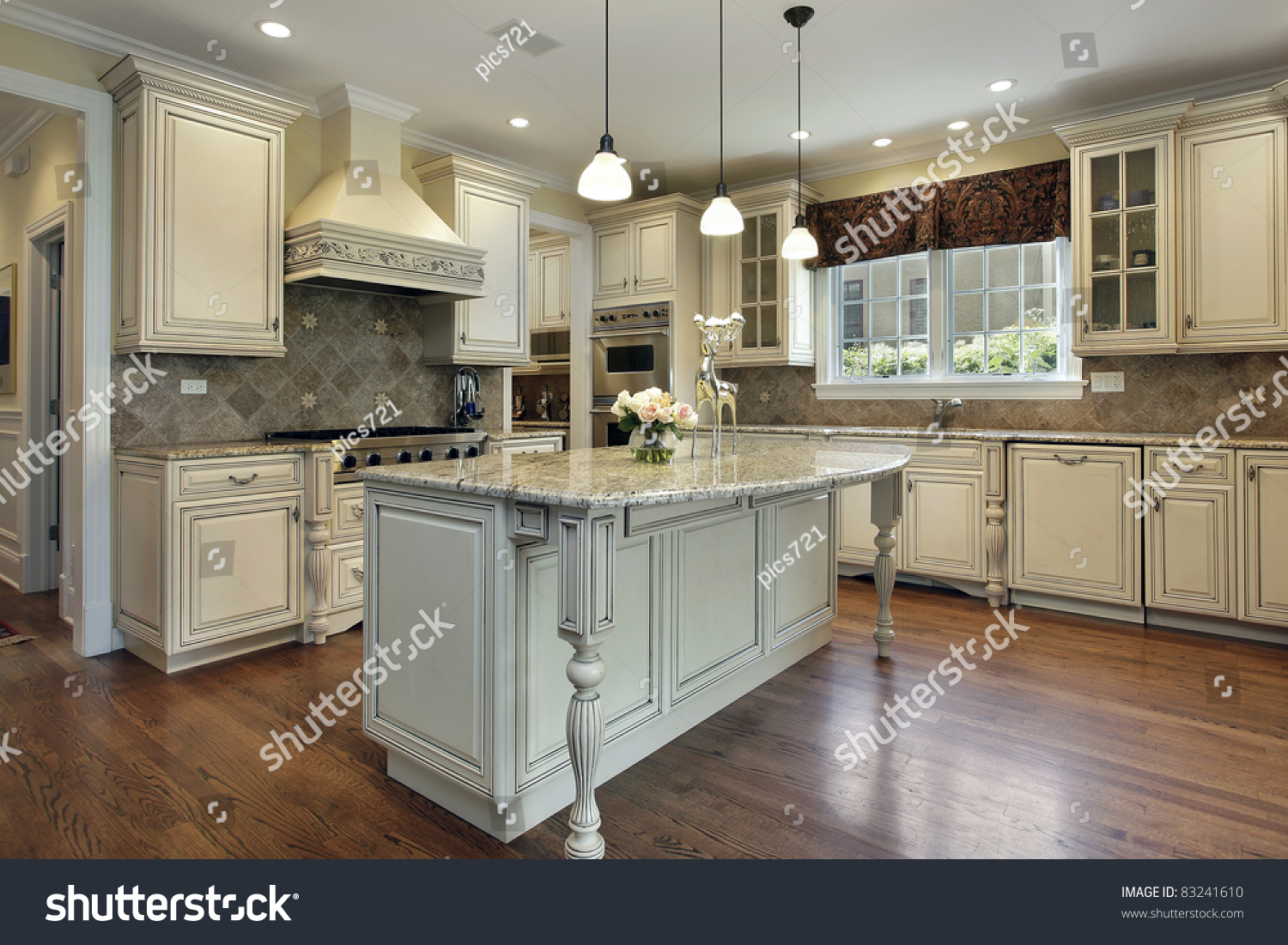 Granite Island Kitchen Kitchen In Luxury Home With Large Granite Island Stock Photo