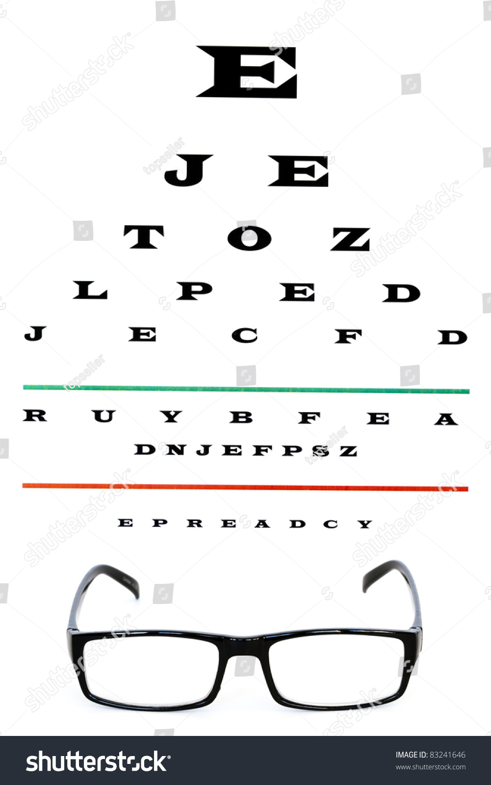 eye chart with reading glasses stock photo 83241646