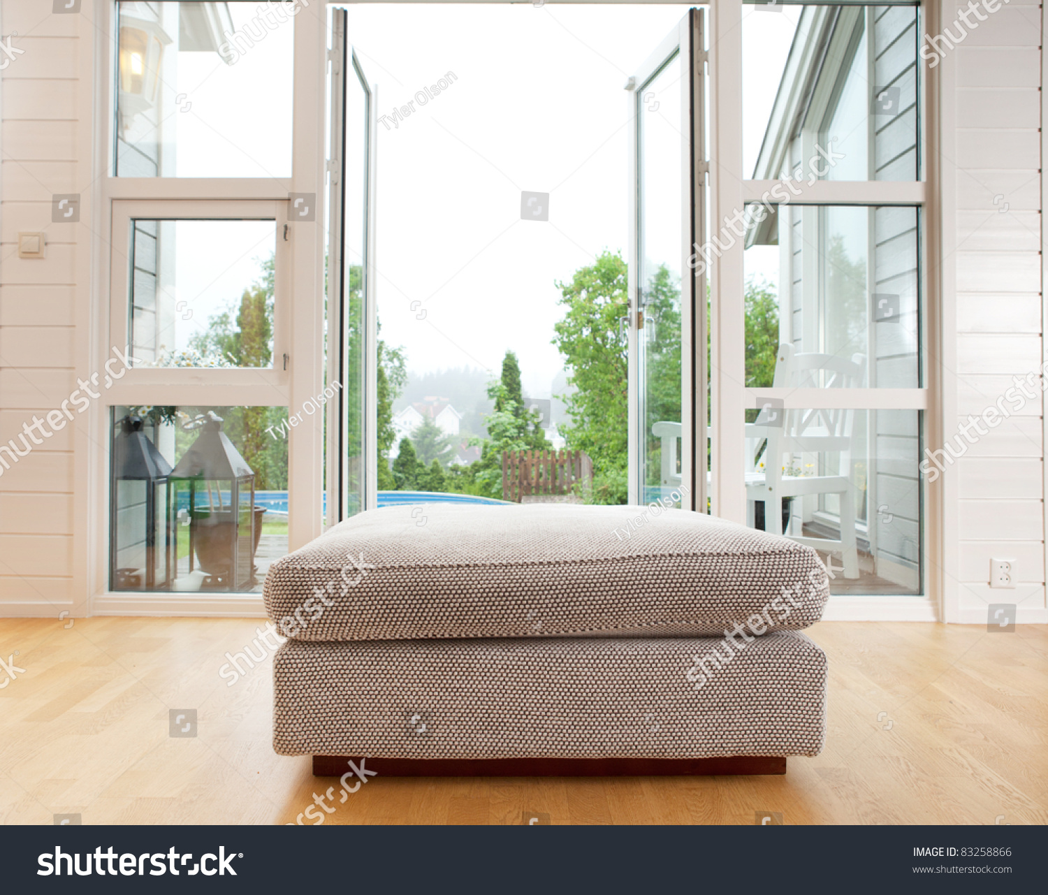 large chair cushion front large open stock photo 83258866