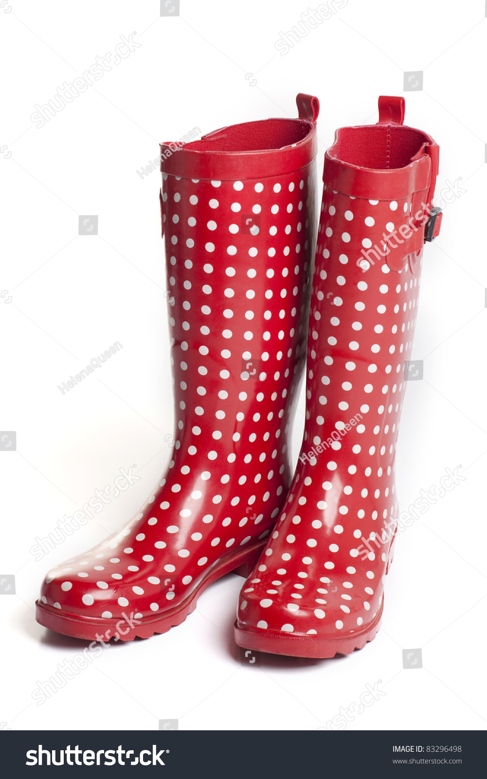 Polka Dot Red Rain Boots On Stock Photo 83296498 - Shutterstock